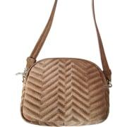 Leather Shoulder Bag MAJE Beige, camel