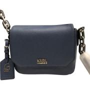 Leather Shoulder Bag KARL LAGERFELD Blue, navy, turquoise