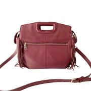 Leather Shoulder Bag MAJE Bordeaux