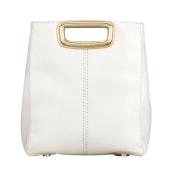 Leather Handbag MAJE White, off-white, ecru