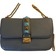 Schultertasche Leder VALENTINO Glam lock Blau, marineblau, türkisblau