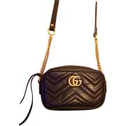 Leather Shoulder Bag GUCCI Marmont Black