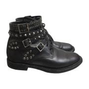 Biker Ankle Boots SAINT LAURENT Black