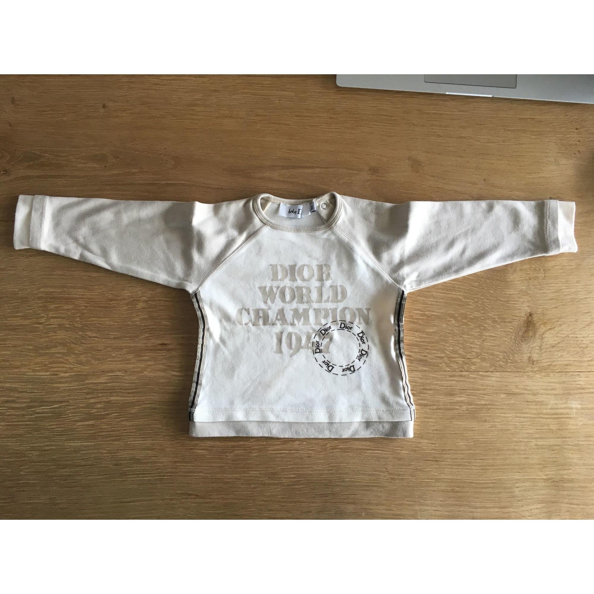 Top, tee shirt BABY DIOR Blanc, blanc cassé, écru