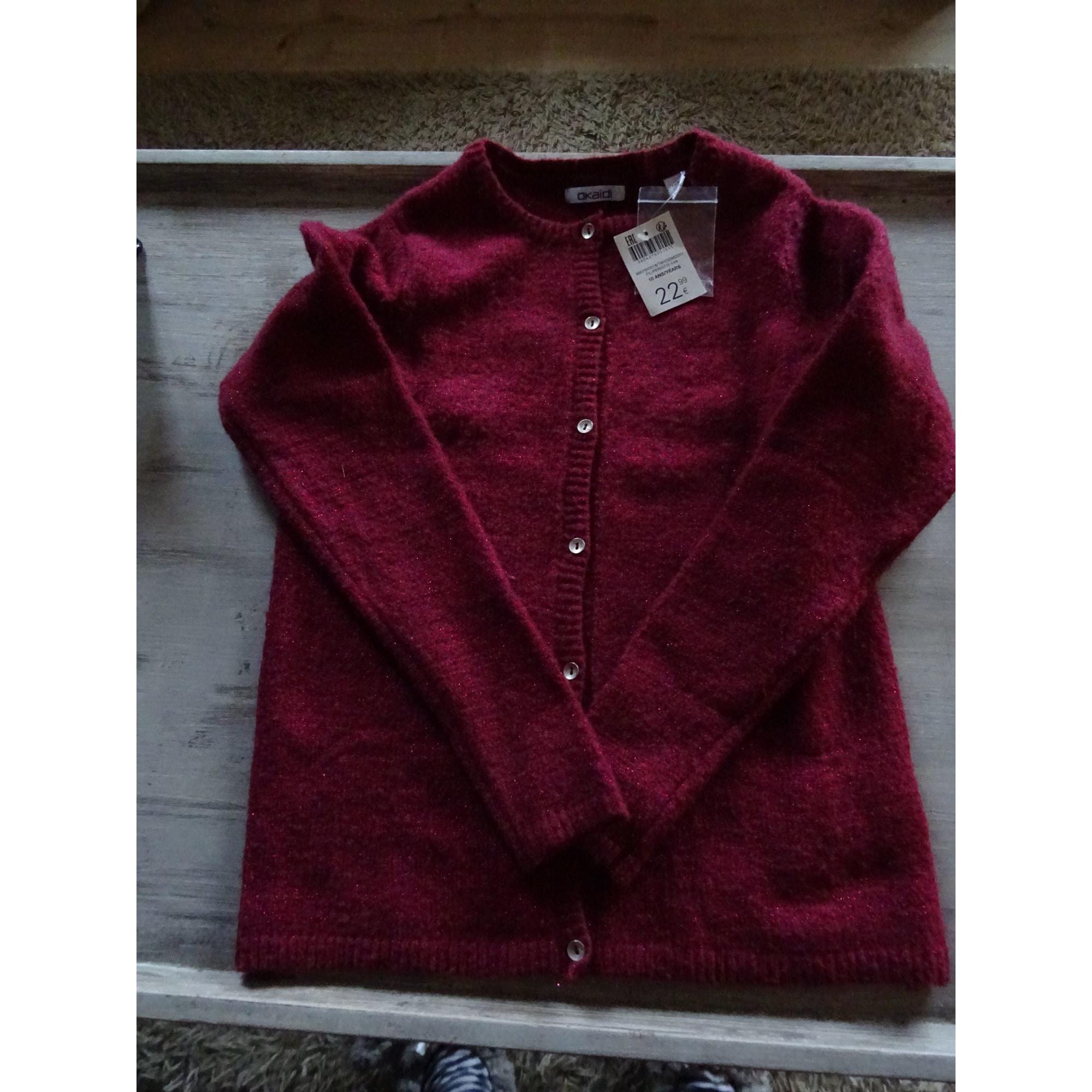 Gilet, cardigan OKAÏDI Rouge, bordeaux