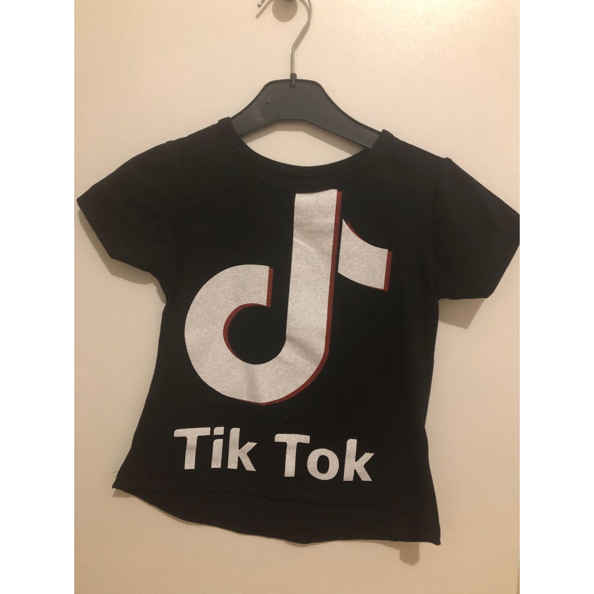 Top, Tee-shirt TIKTOK Noir