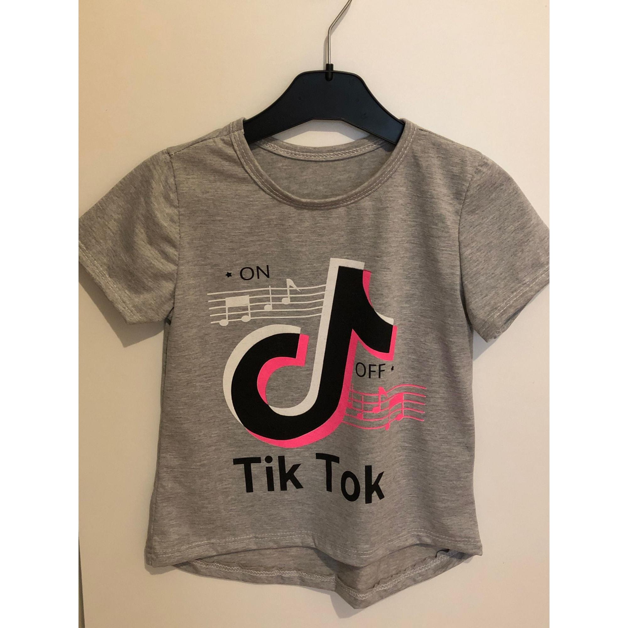 Top, Tee-shirt TIKTOK Gris, anthracite
