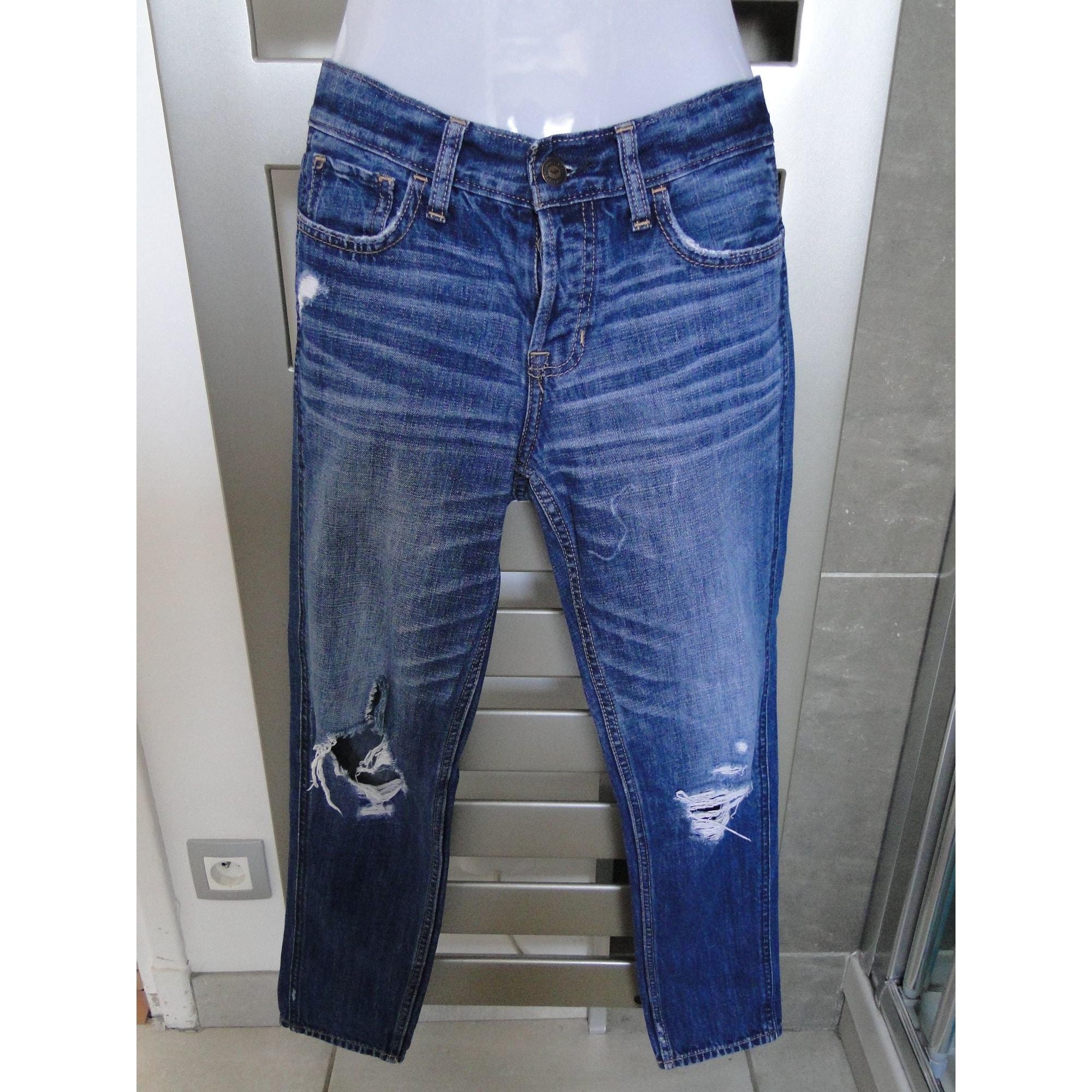 Jeans large, boyfriend HOLLISTER Bleu, bleu marine, bleu turquoise