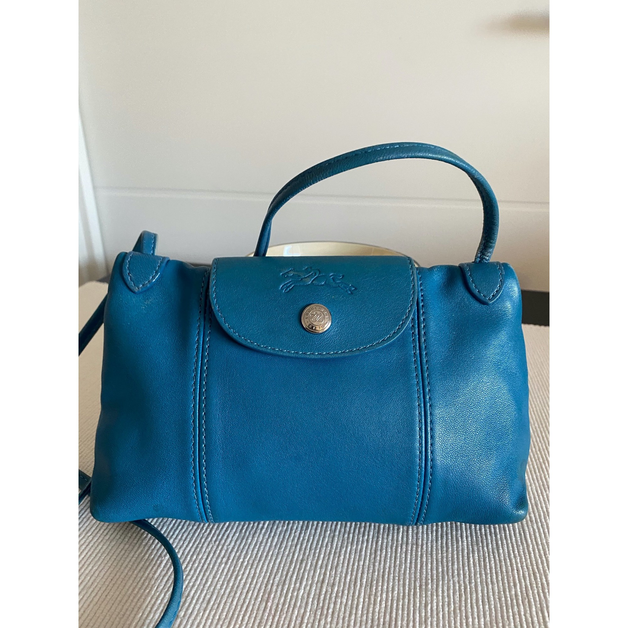 Sac en bandoulière en cuir LONGCHAMP Pliage Bleu, bleu marine, bleu turquoise