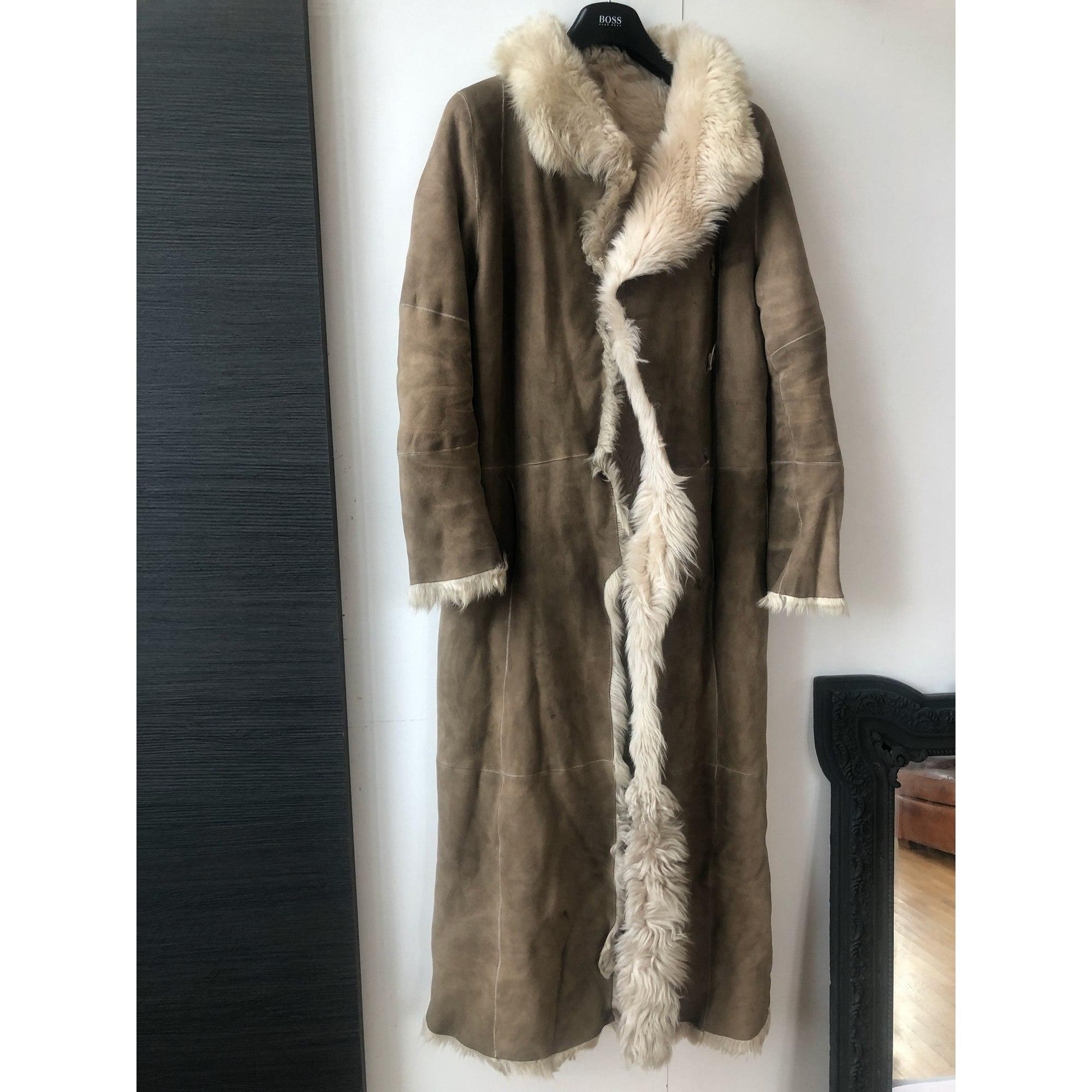 Manteau en fourrure JOSEPH Beige, camel