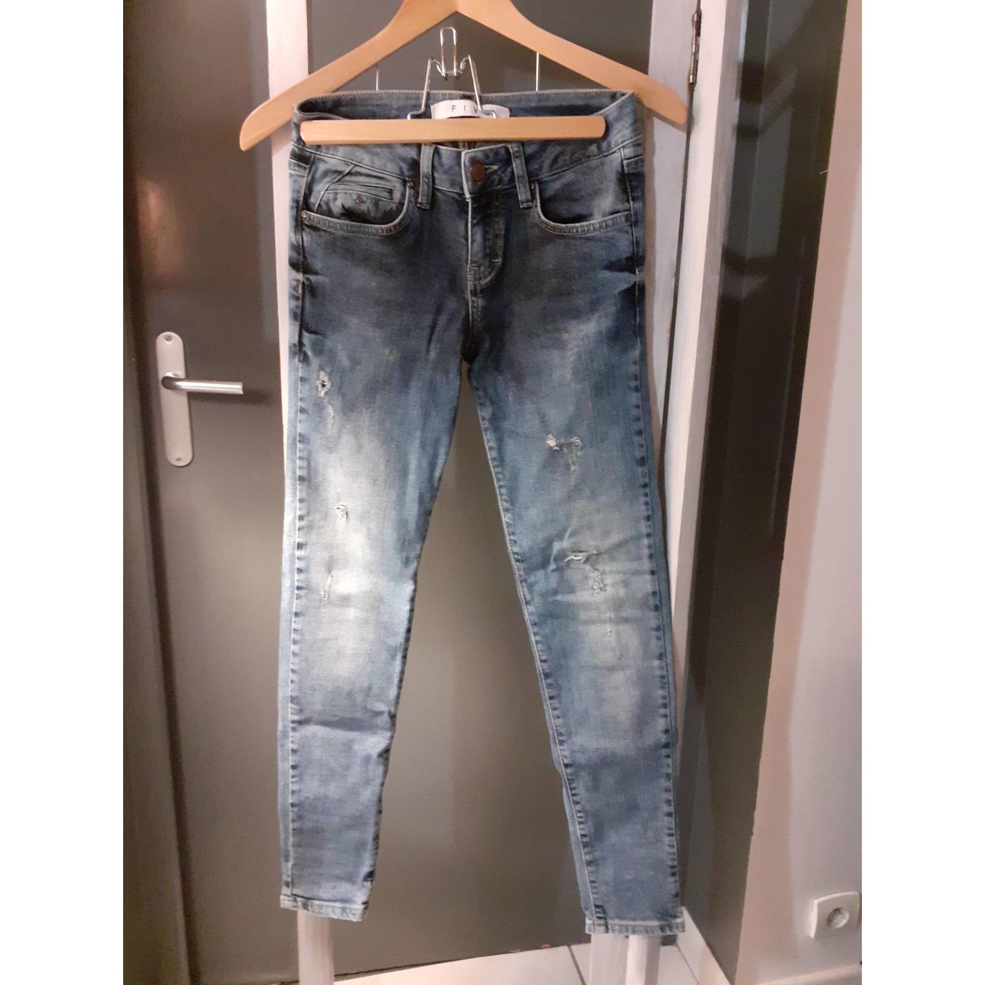 Jeans slim FIVE Bleu, bleu marine, bleu turquoise