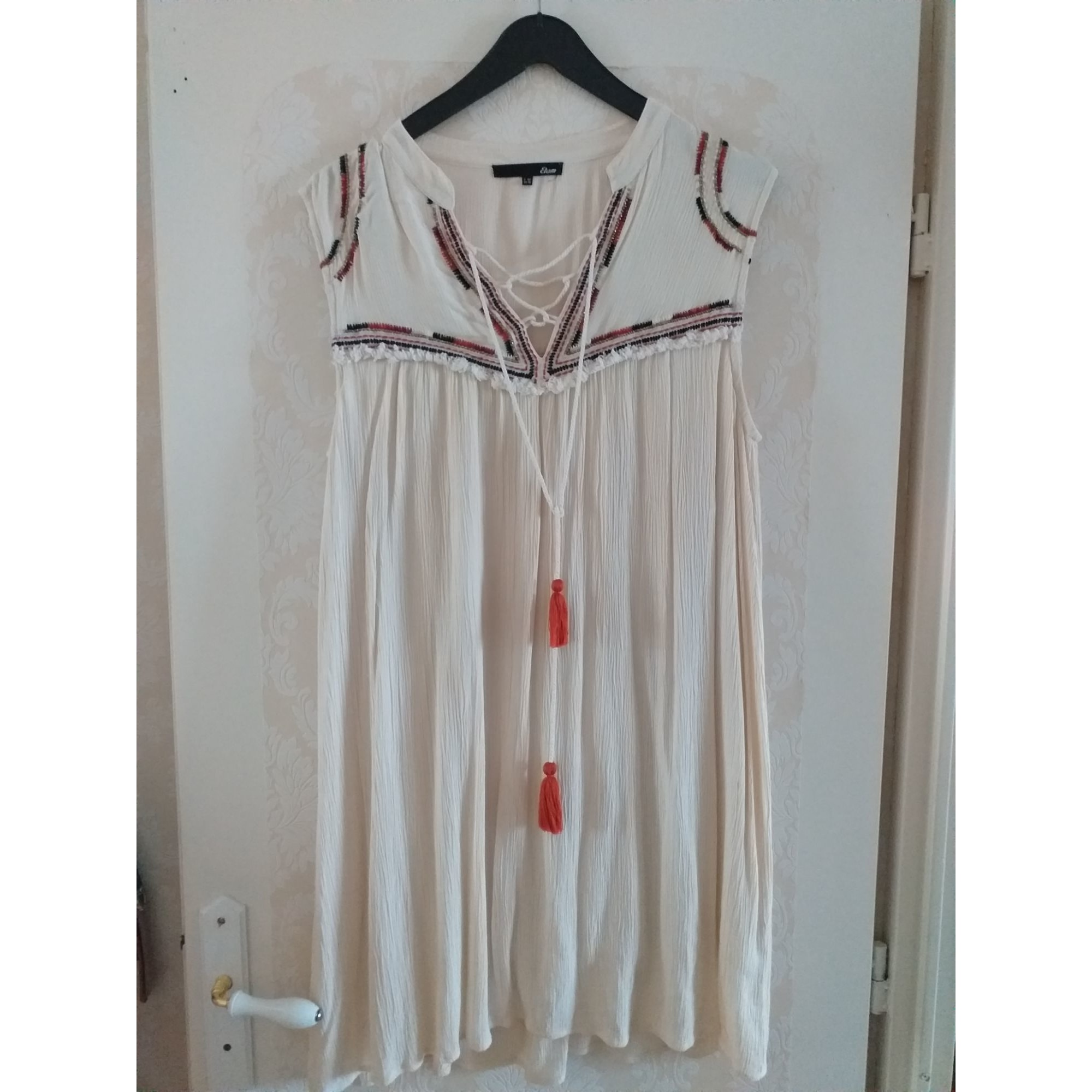 Robe courte ETAM Blanc, blanc cassé, écru