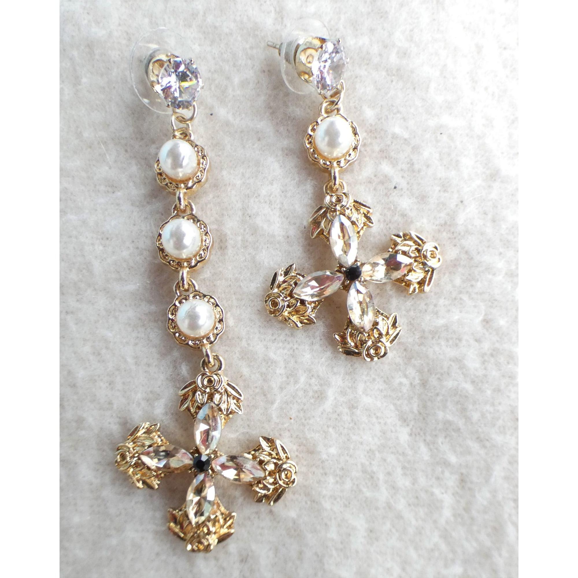 Boucles d'oreille FANTAISIE strass et perles