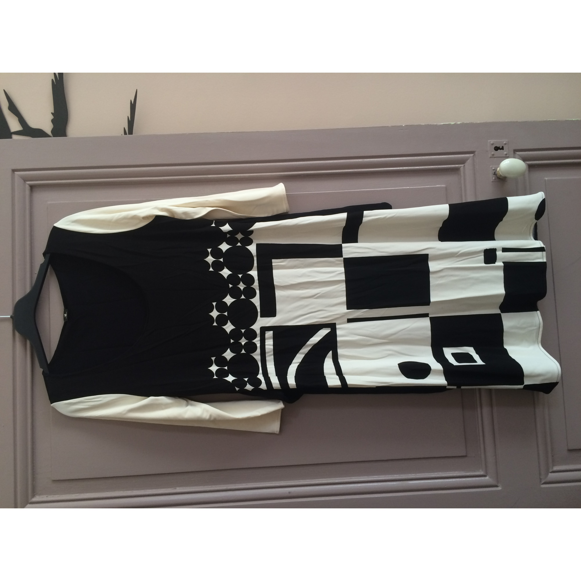 Robe courte MARQUE INCONNUE Noir, blanc cassé
