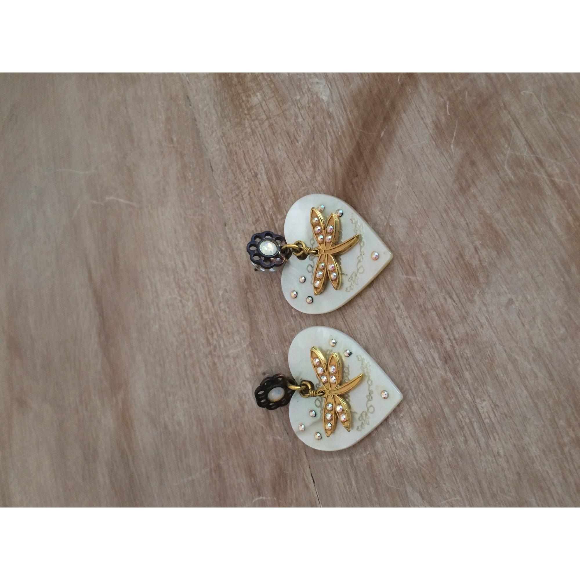 Boucles d'oreille FUSCHIA Blanc, blanc cassé, écru