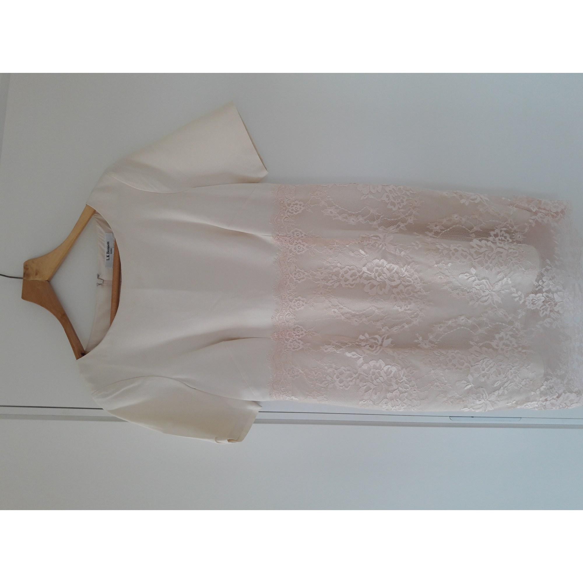 Robe mi-longue LK BENNETT Blanc, blanc cassé, écru