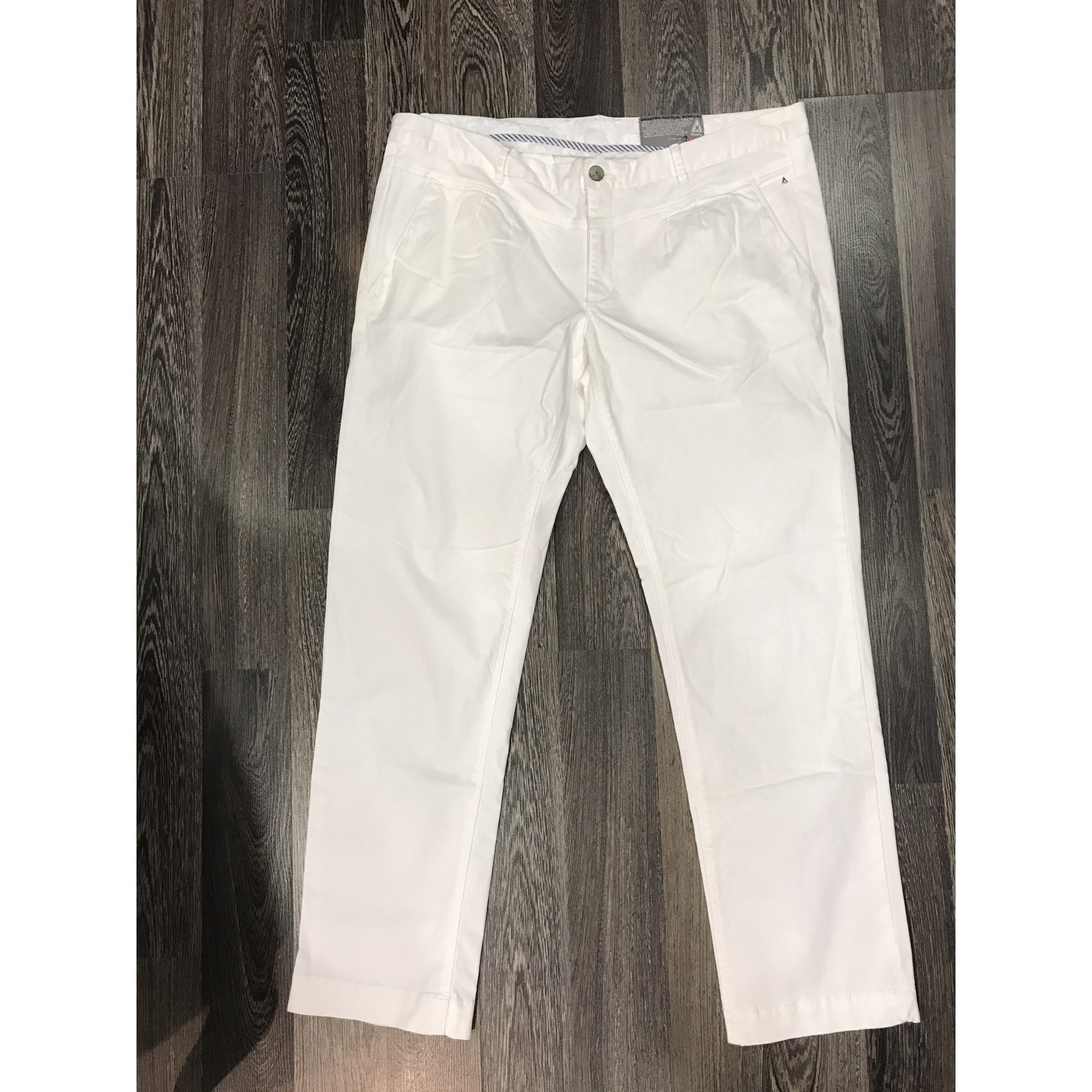 pantalon garcon slim blanc casse