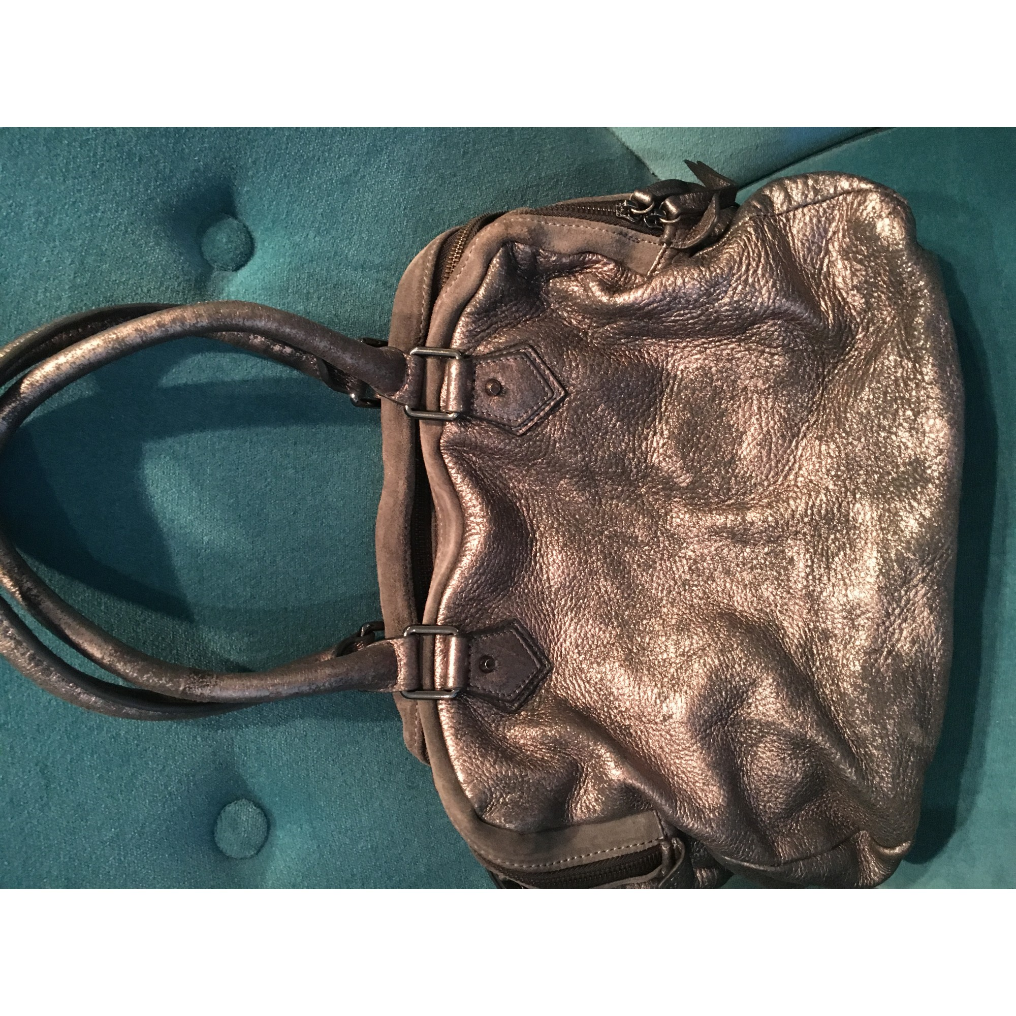 Sac à main en cuir CAROLL gris vendu par Le dressing de karine - 6692480 f4d32bf1840