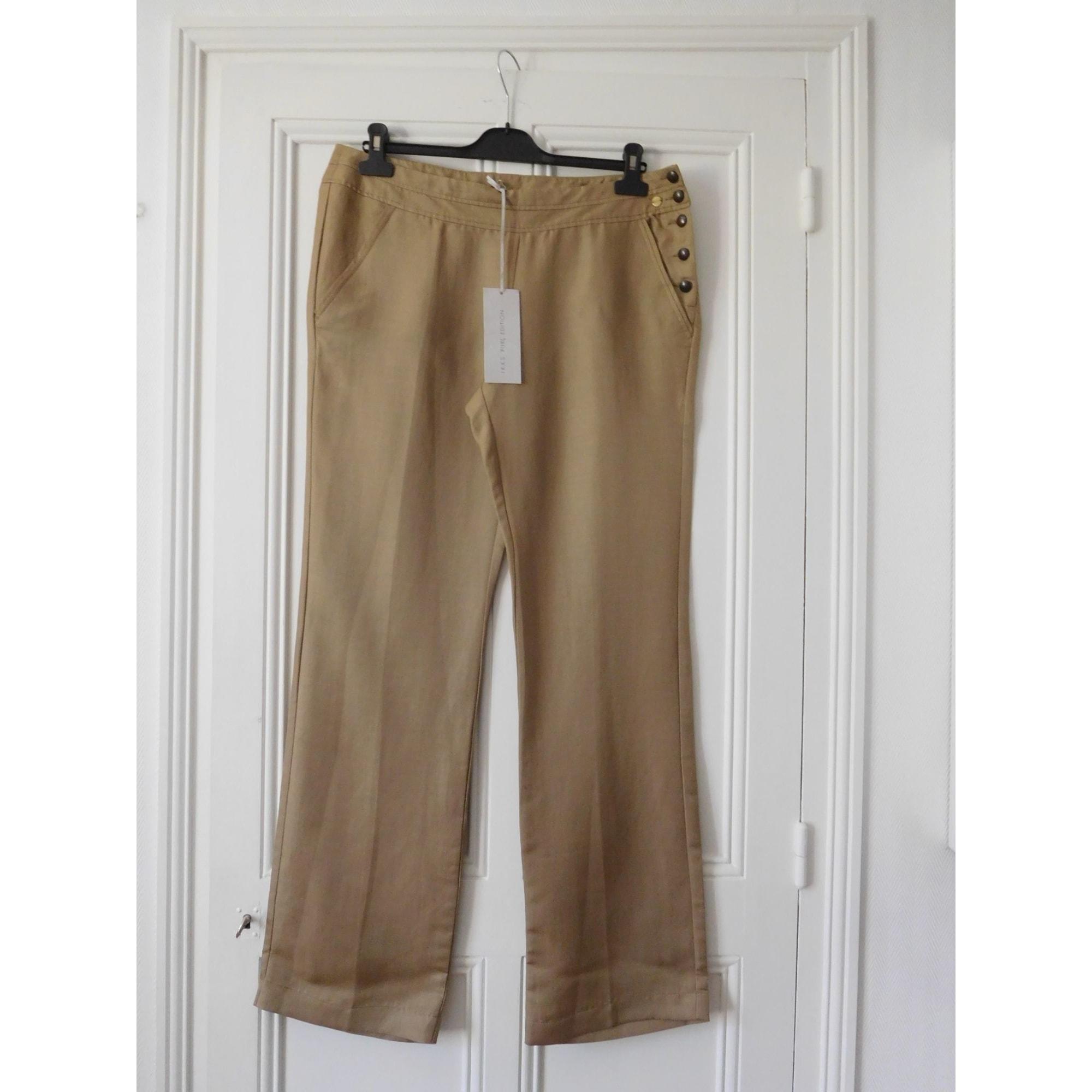 Pantalon large IKKS Beige, camel