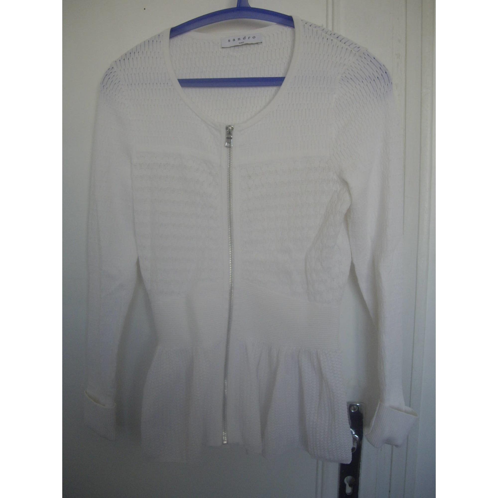Veste SANDRO Blanc, blanc cassé, écru