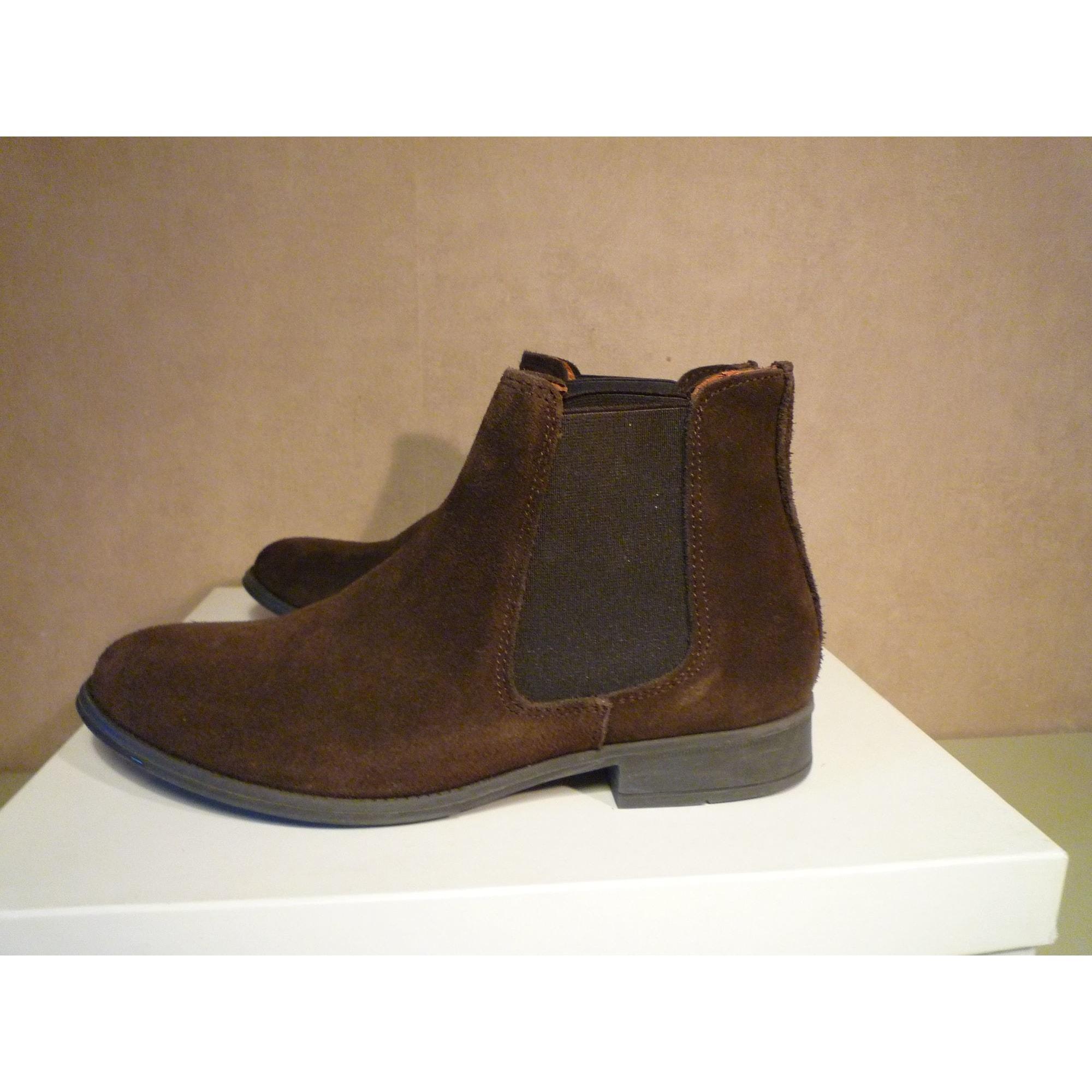 Bottines & low boots plates BESSON Marron