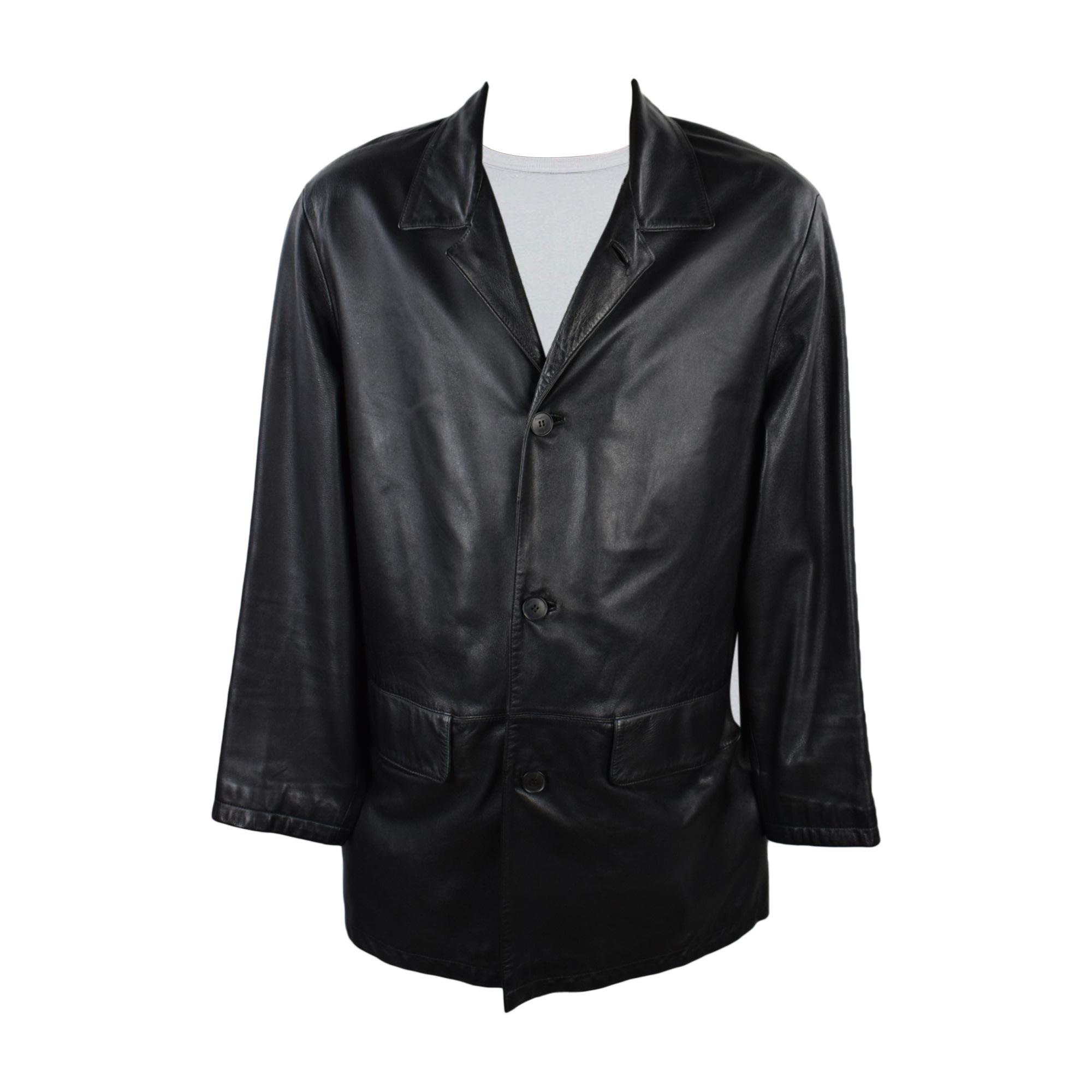 Manteau en cuir KARL LAGERFELD Noir