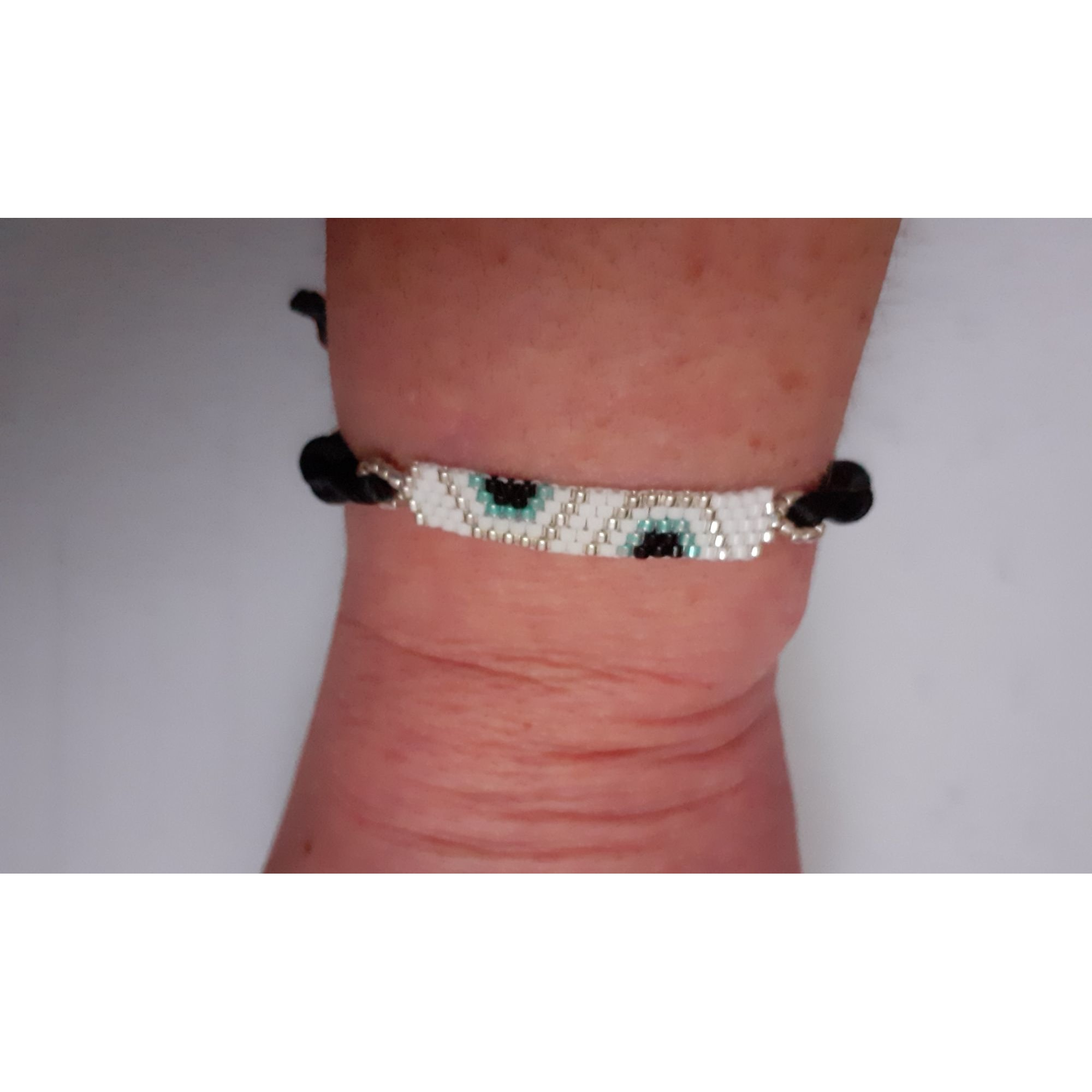 Bracelet HANDMADE Blanc, blanc cassé, écru