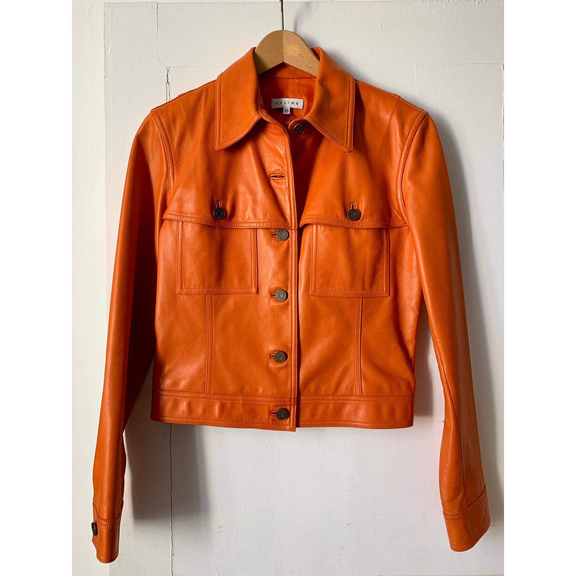 Veste en cuir CÉLINE Orange