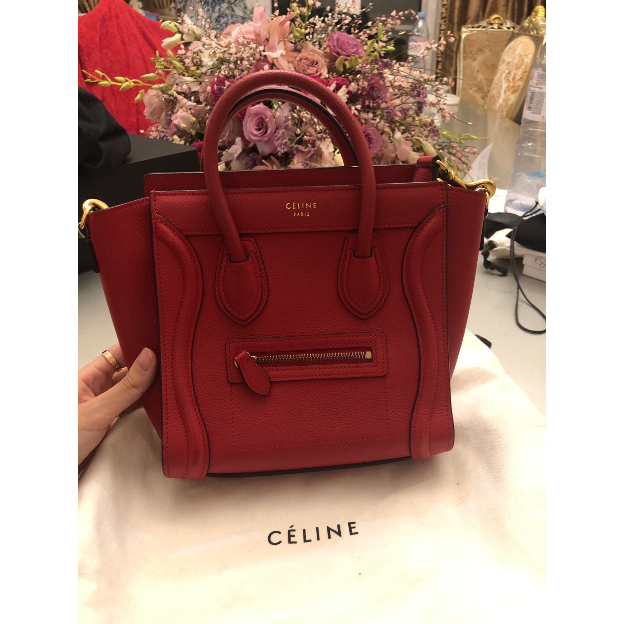 Sac à main en cuir CÉLINE Luggage Rouge, bordeaux