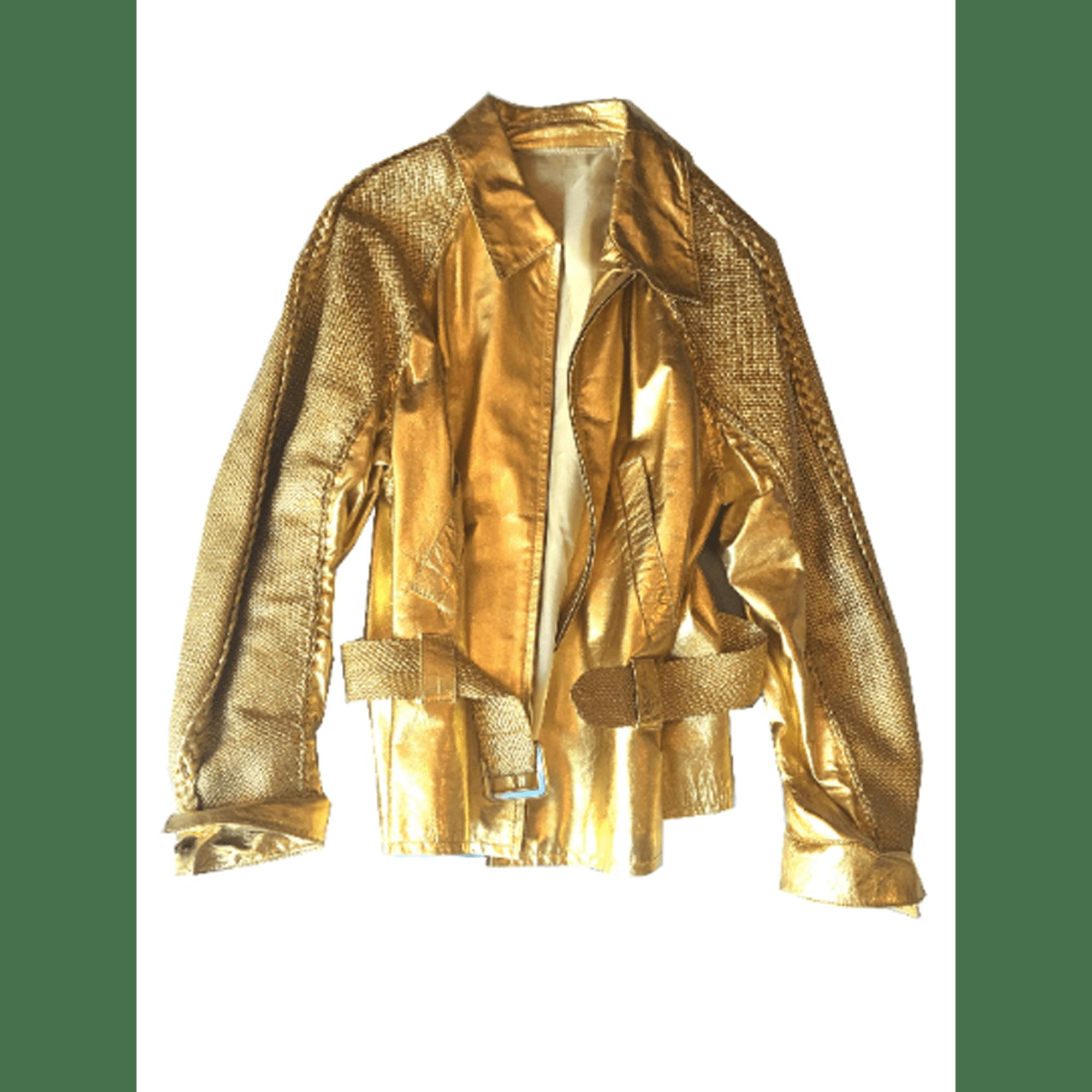 Veste en cuir ANDREA PFISTER Doré, bronze, cuivre