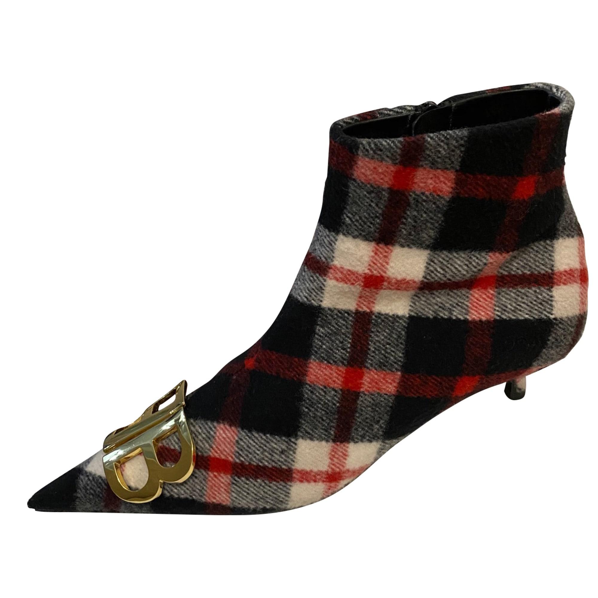 High Heel Ankle Boots BALENCIAGA Knife Red, burgundy