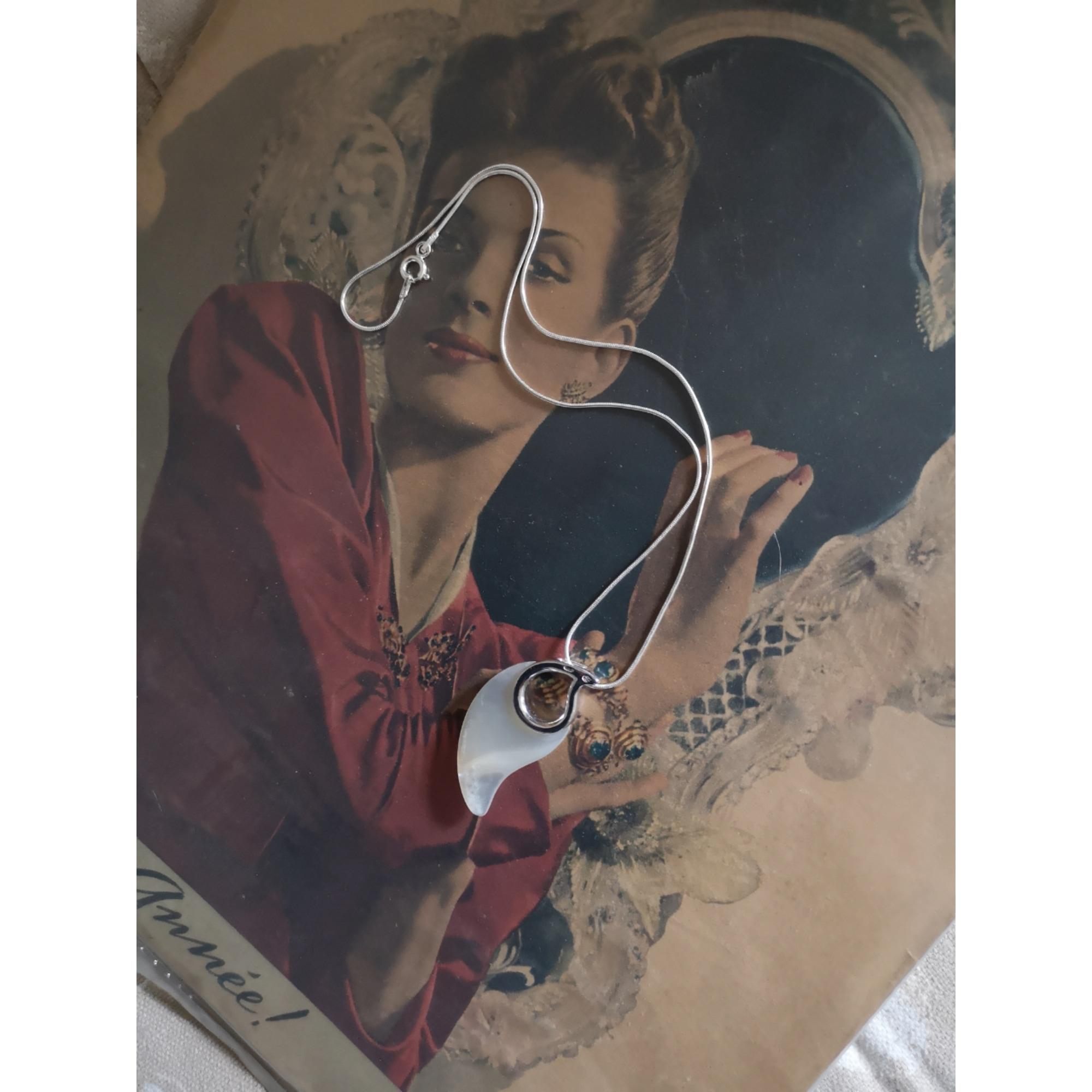 Pendentif, collier pendentif VINTAGE Argenté, acier