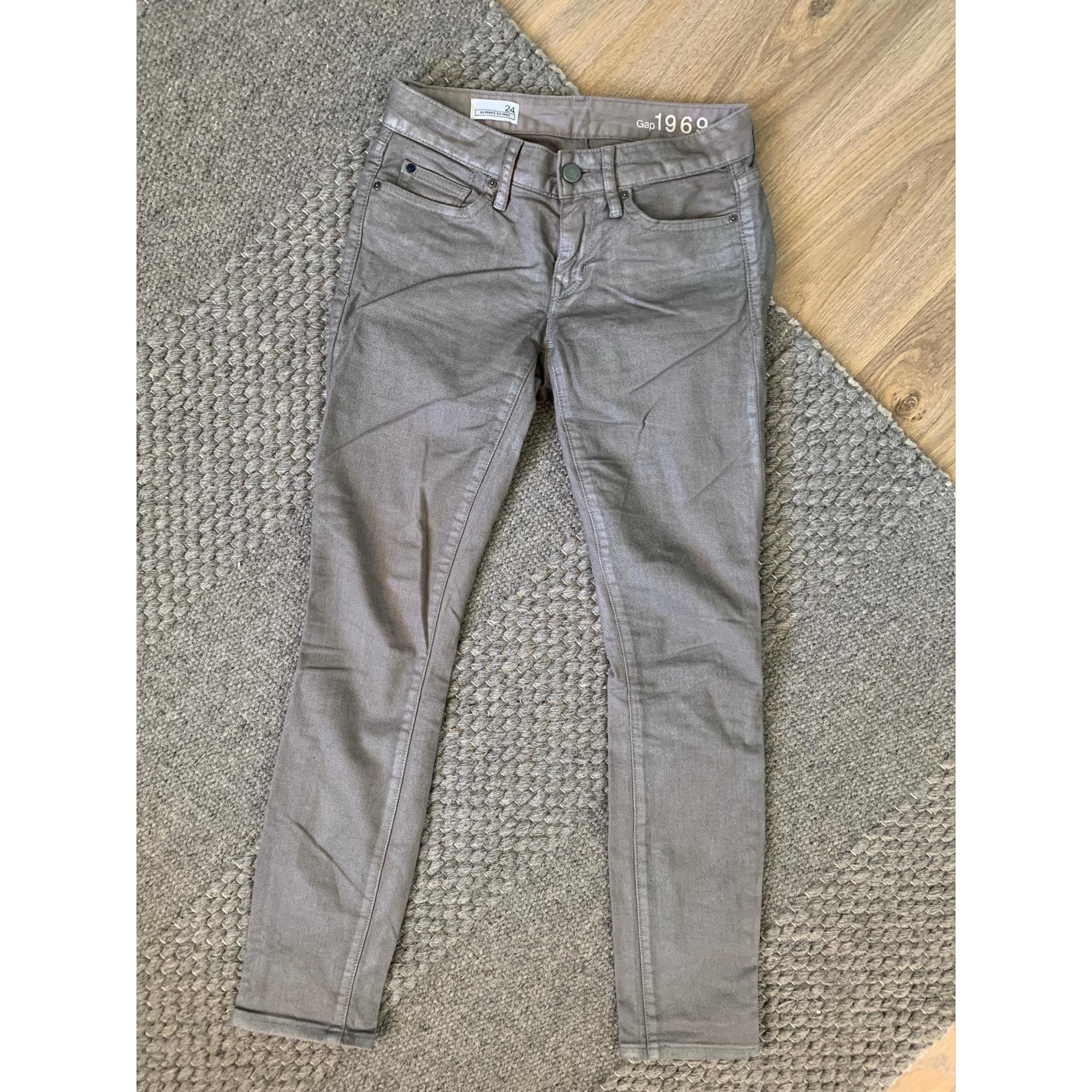 Jeans slim GAP Argenté, acier