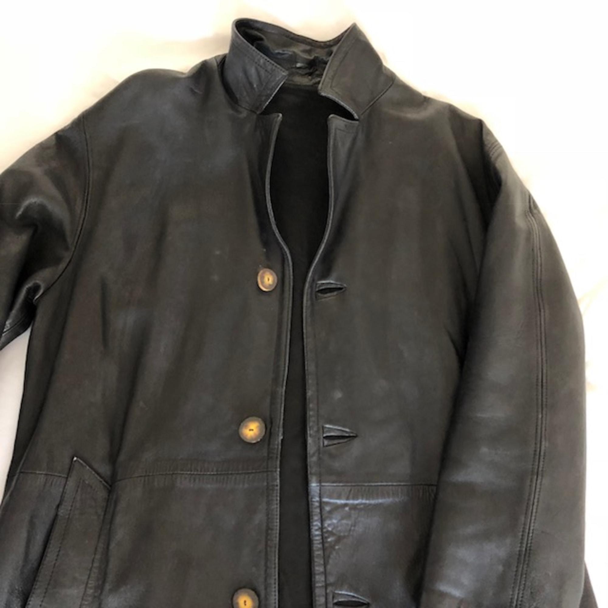 Manteau en cuir MARQUE INCONNUE Noir