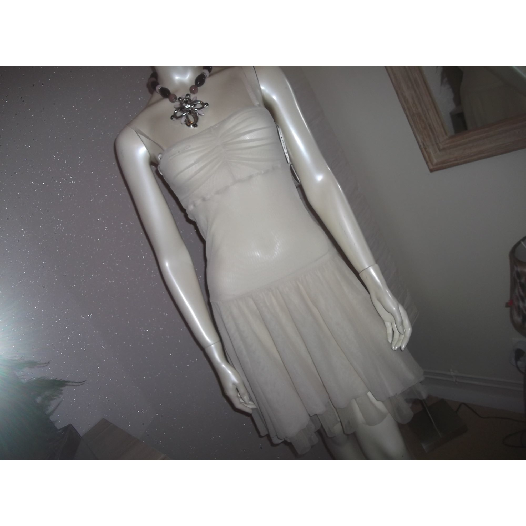 Robe courte TWIN-SET SIMONA BARBIERI Blanc, blanc cassé, écru