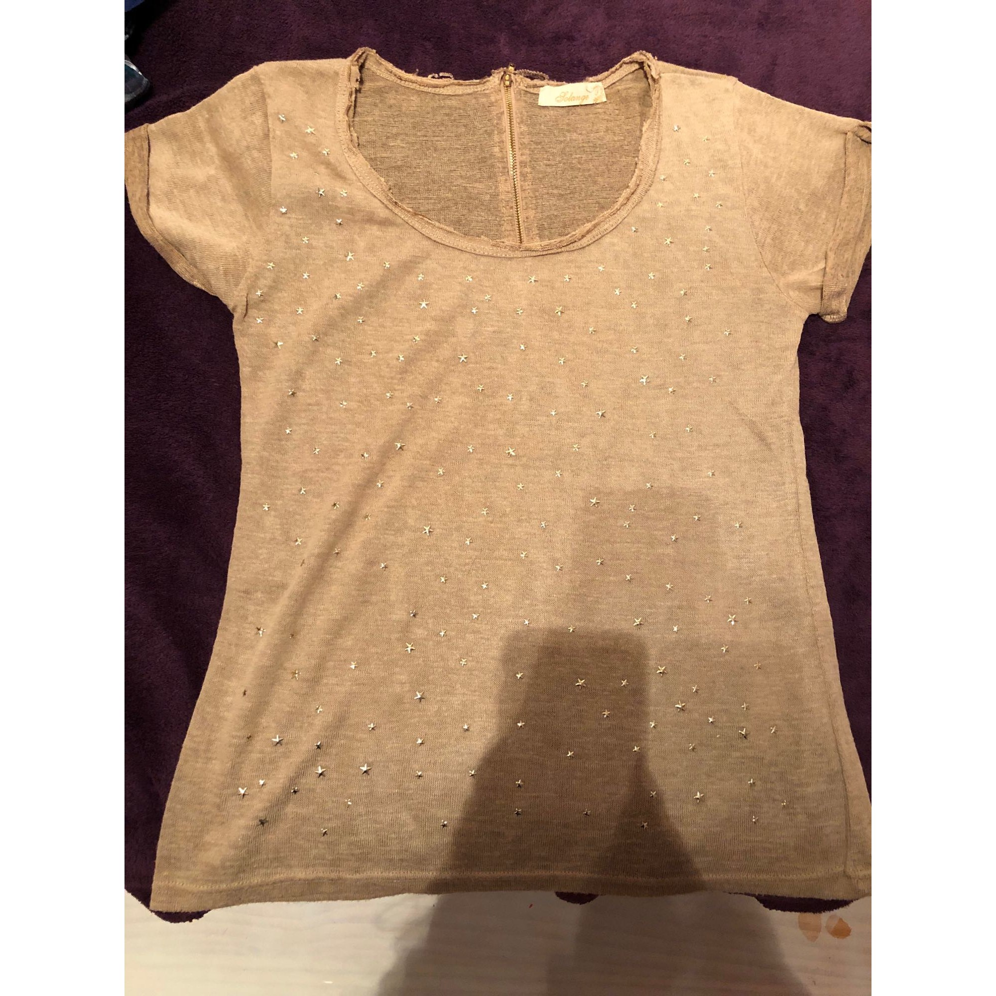Top, tee-shirt MARQUE INCONNUE Beige, camel
