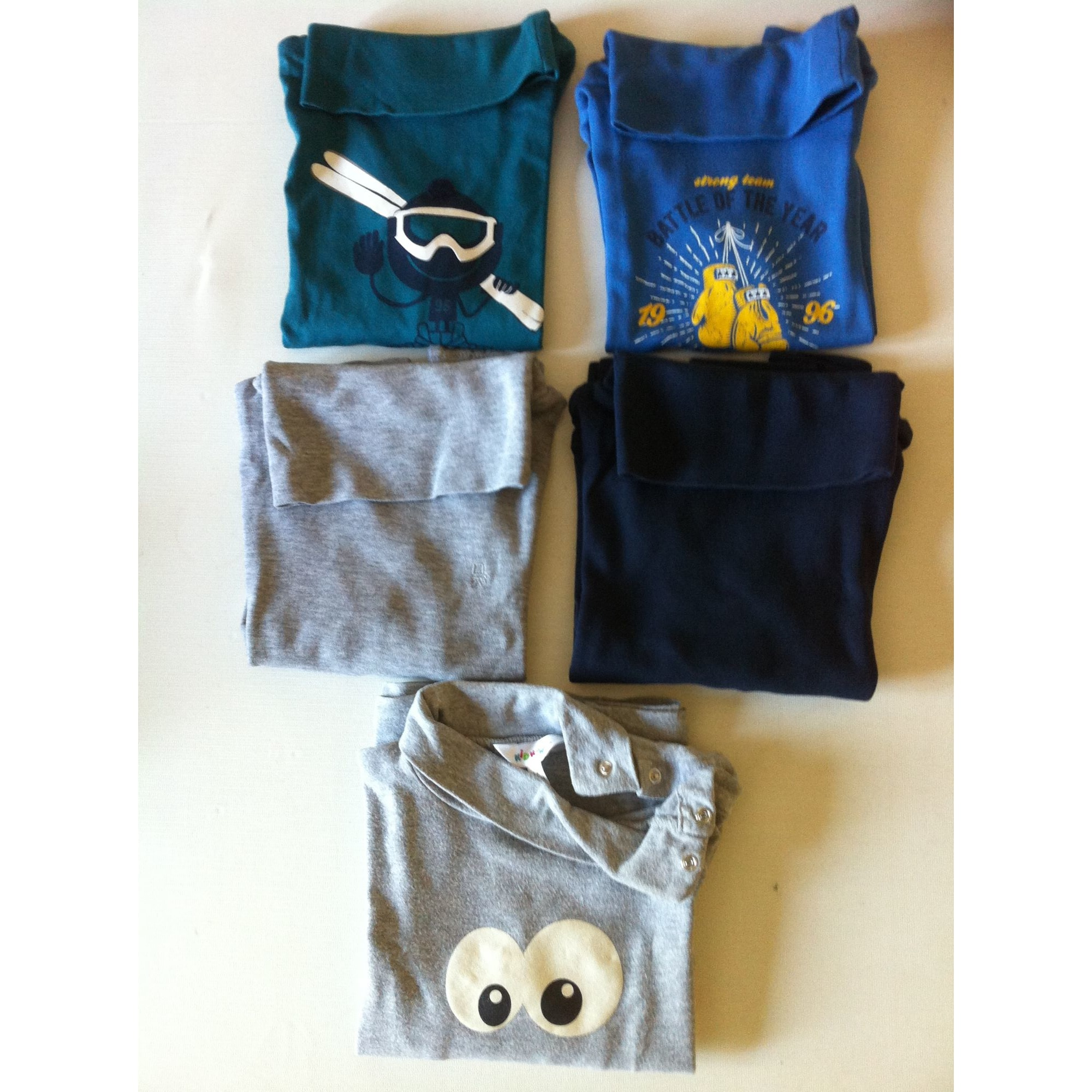 Polo OKAÏDI vert, bleu,gris, bleu marine