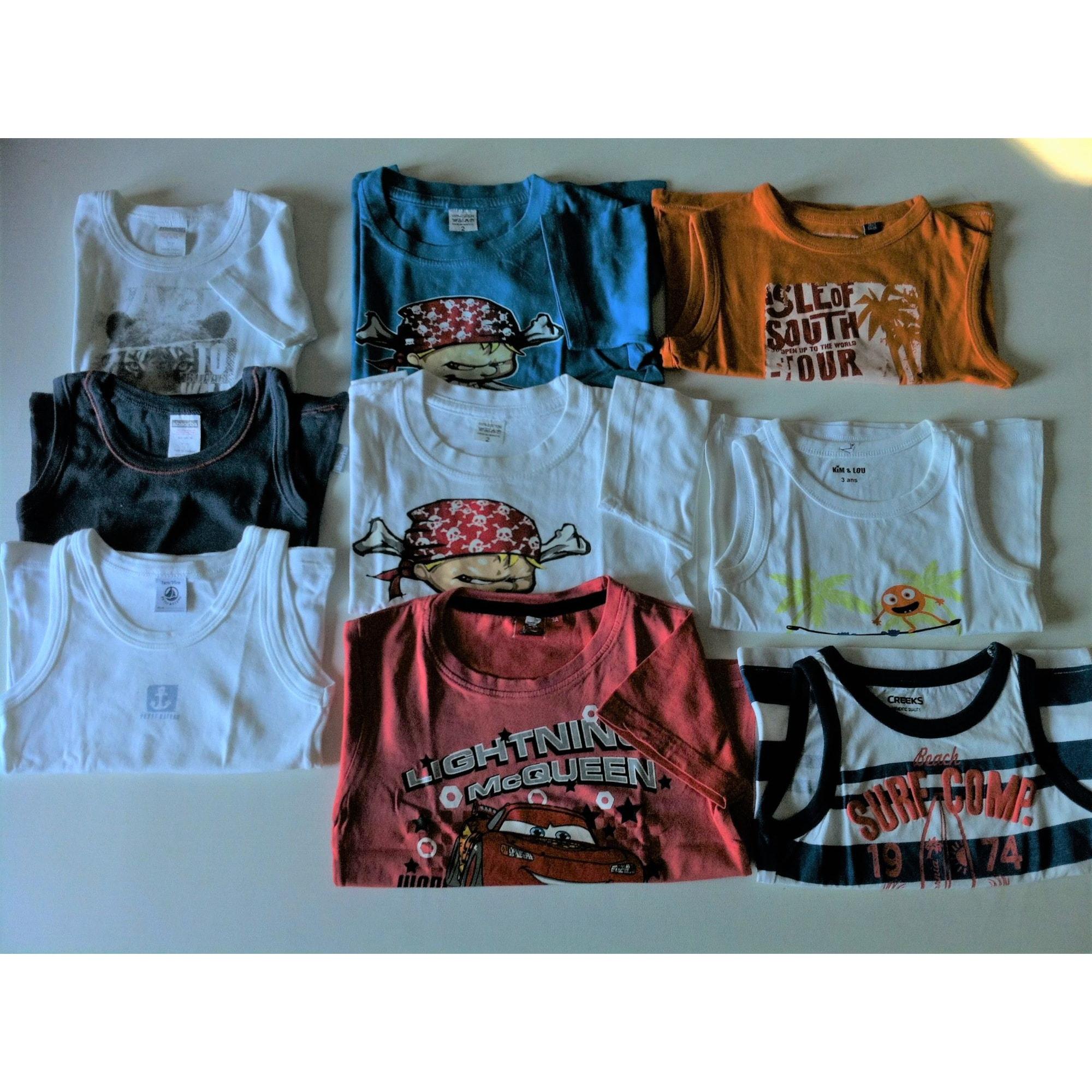 Tee-shirt MARQUE INCONNUE blanc, bleu, rouge, orange