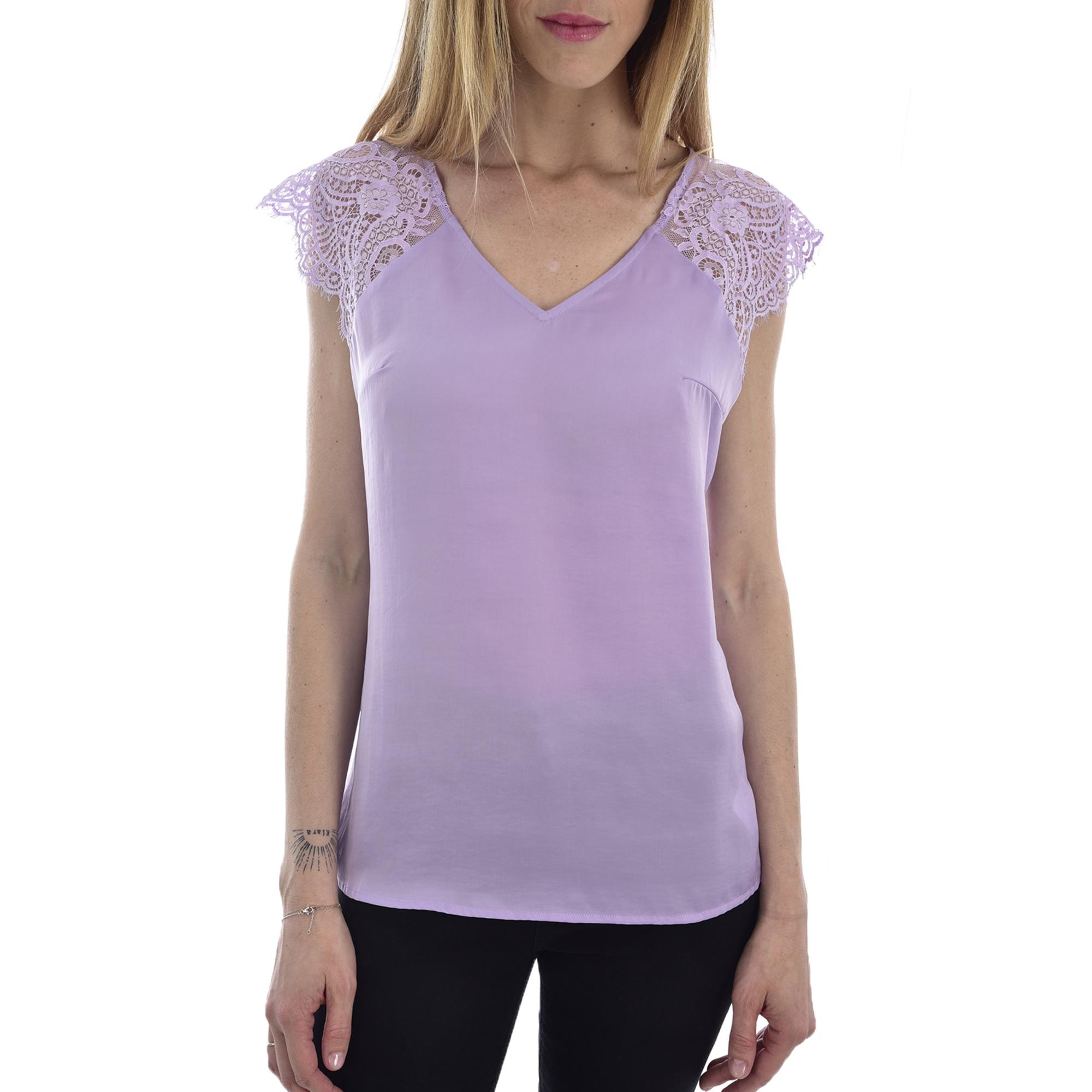 Top, tee-shirt GUESS Violet, mauve, lavande