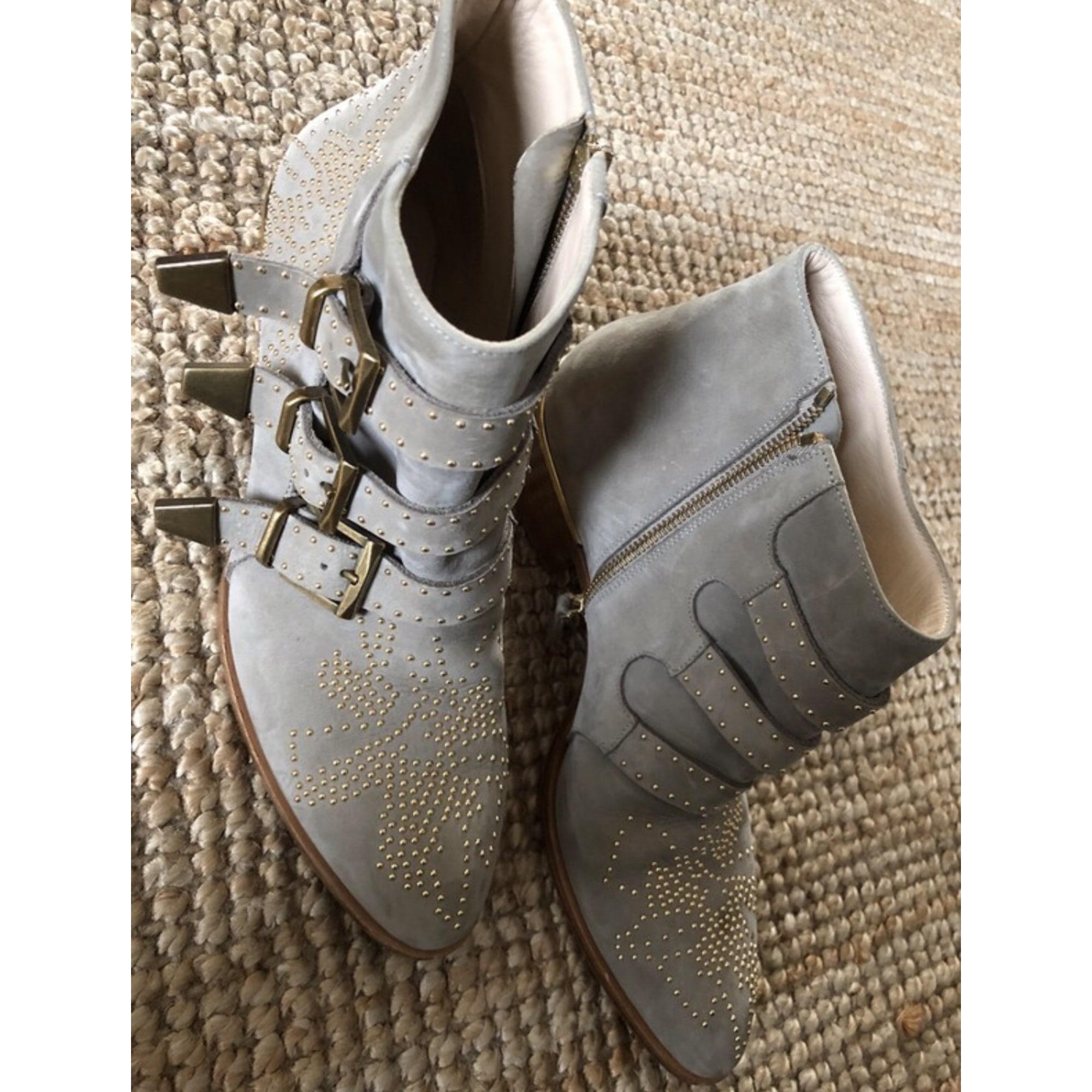 Santiags, bottines, low boots cowboy CHLOÉ Susanna Gris, anthracite
