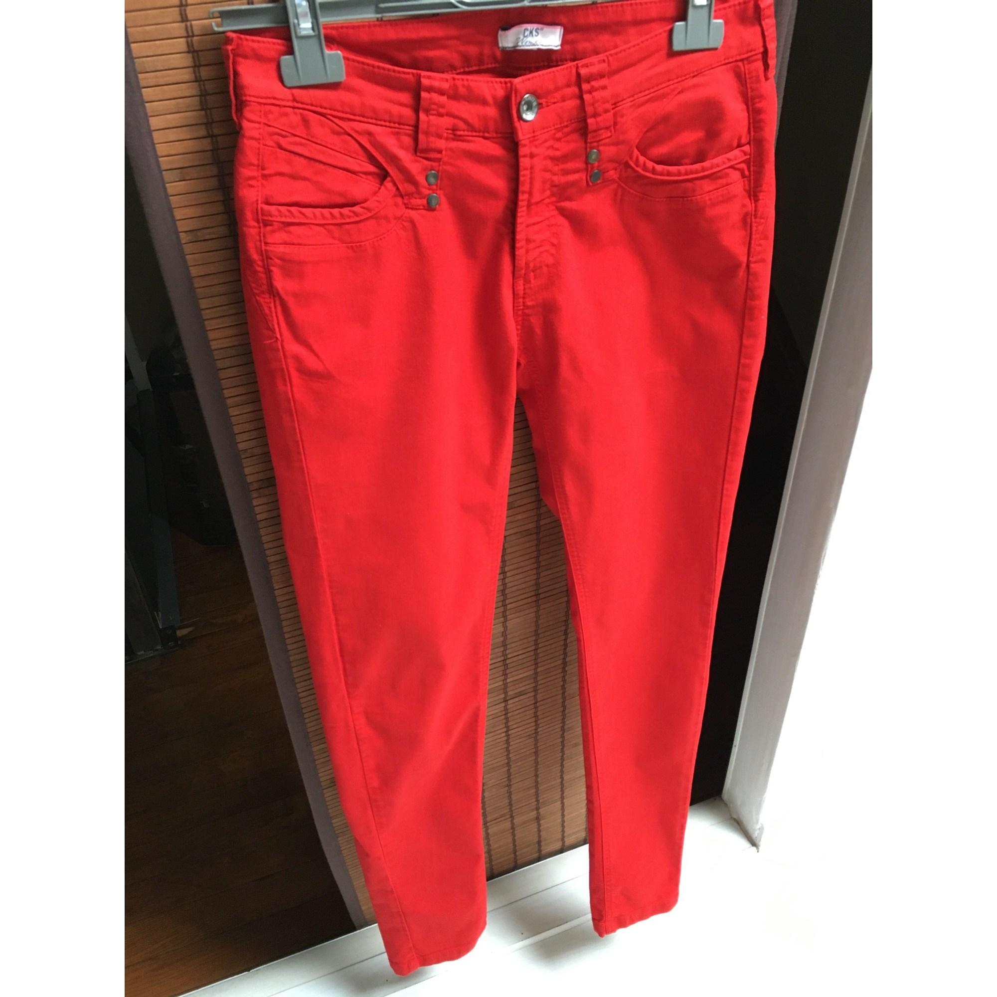 Jeans slim CKS Rouge, bordeaux