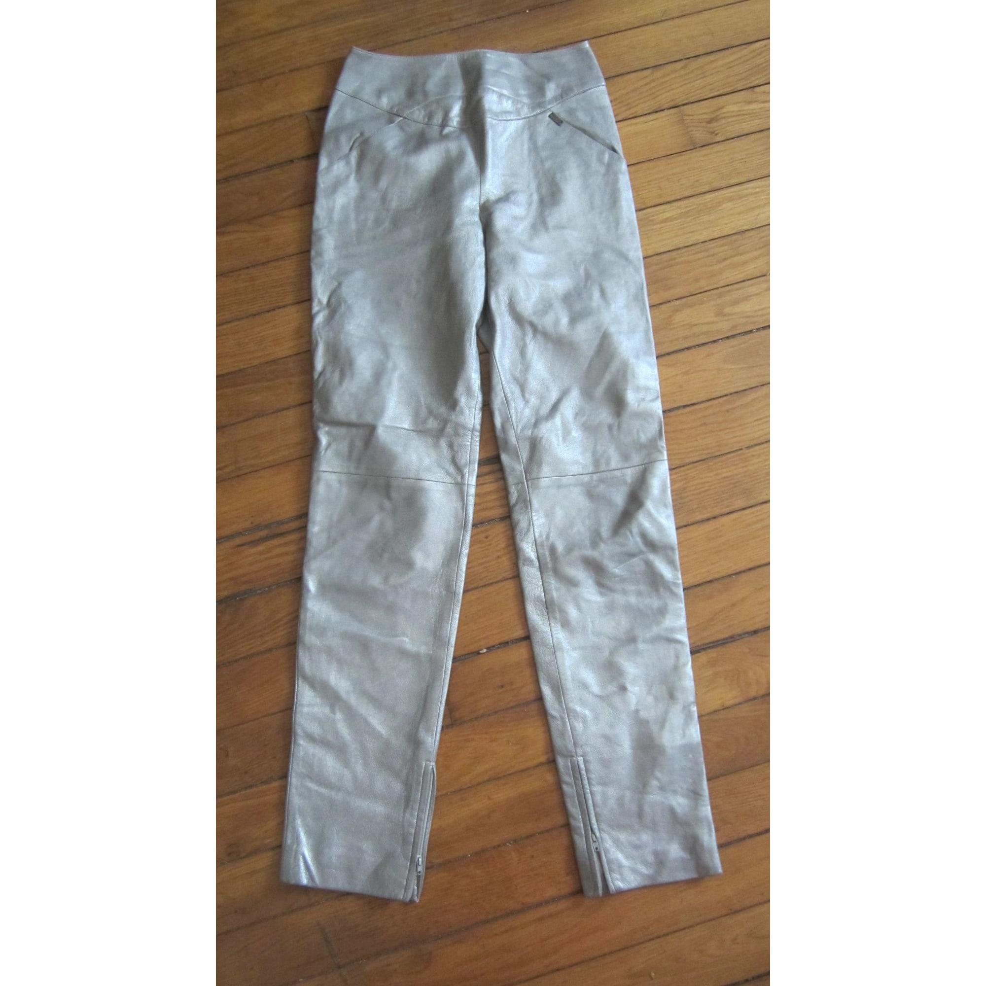 Pantalon slim CHANEL Argenté, acier