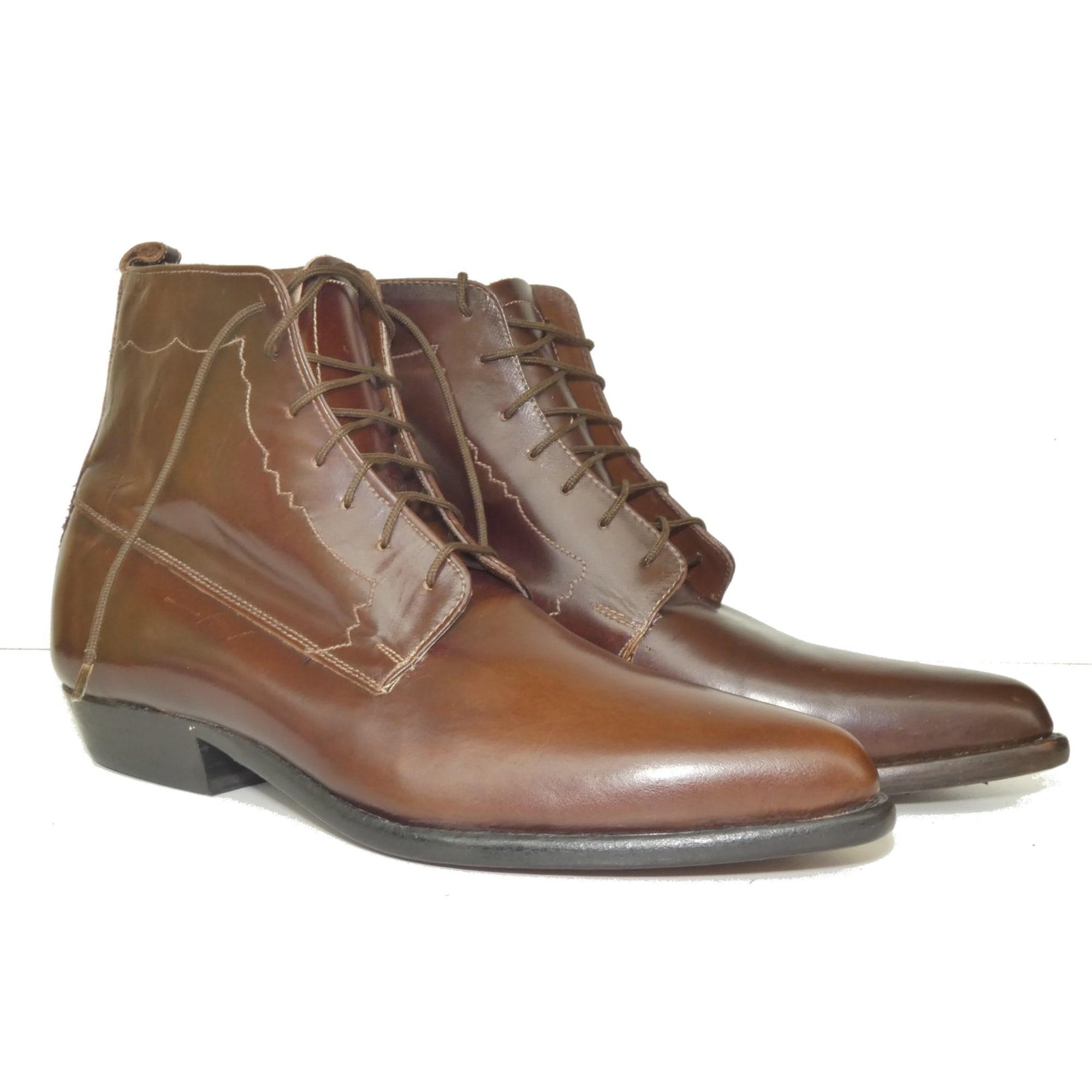 Santiags, bottines, low boots cowboy CALAMEX Marron