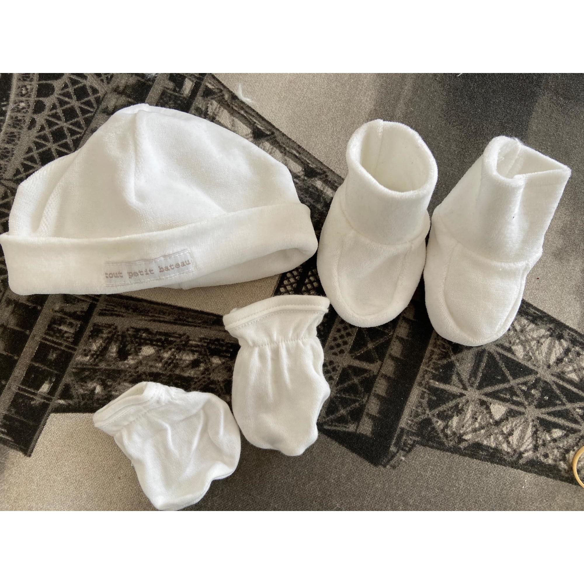 Moufles PETIT BATEAU Blanc, blanc cassé, écru