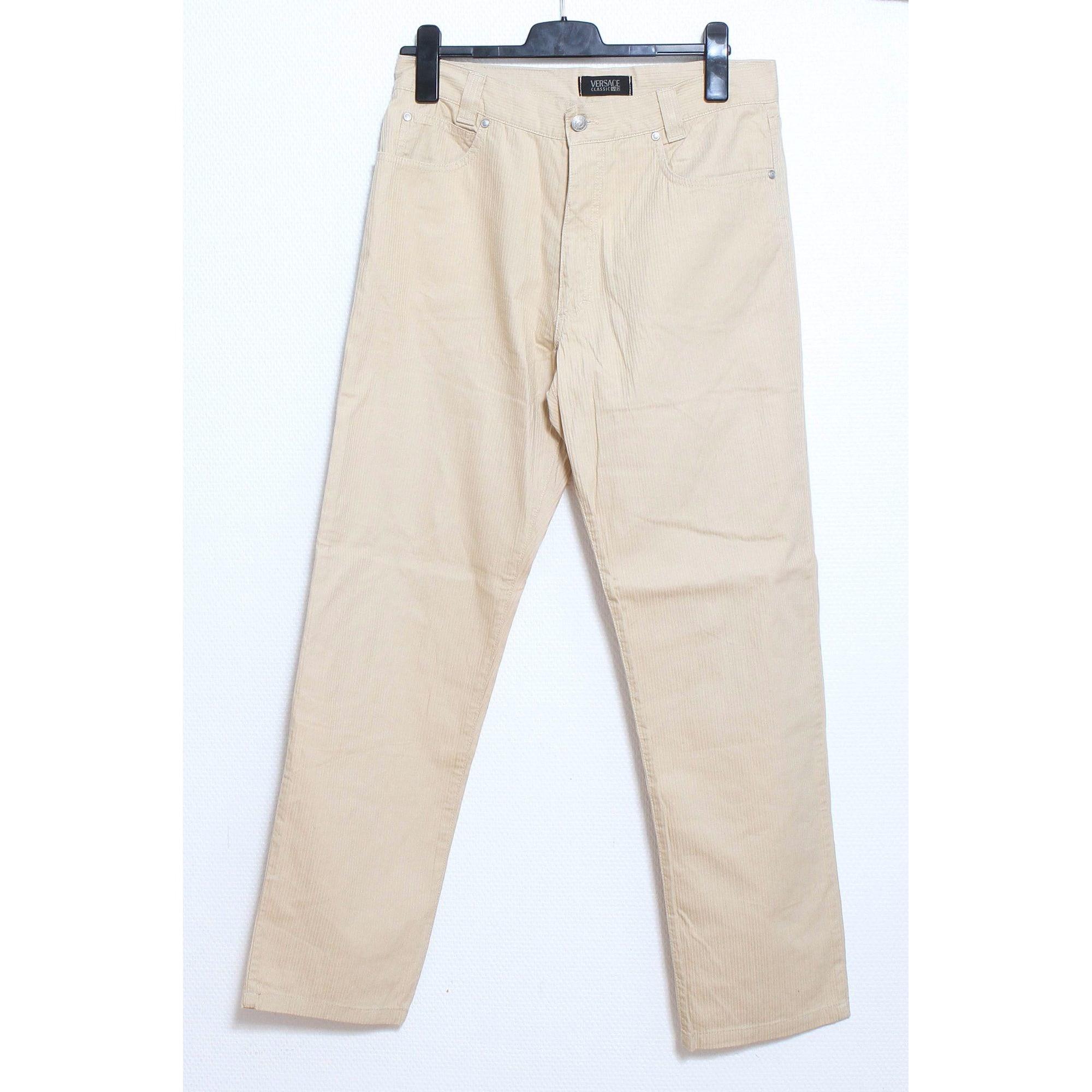 Pantalon droit VERSACE Beige, camel