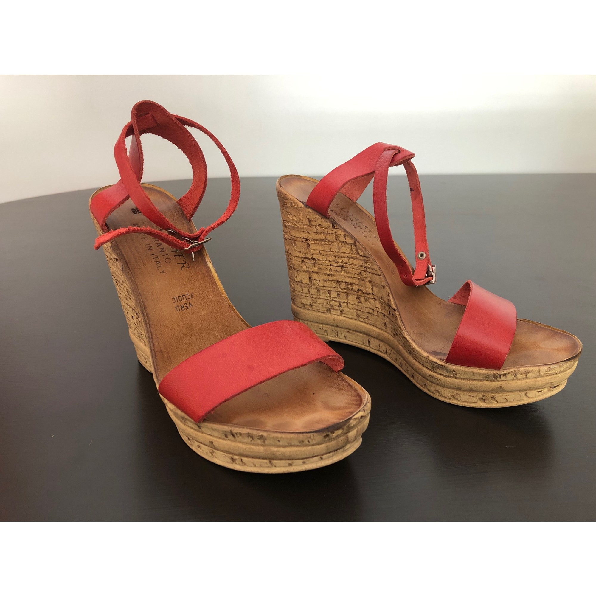 Sandales compensées BOUTIQUE INDEPENDANTE Rouge, bordeaux