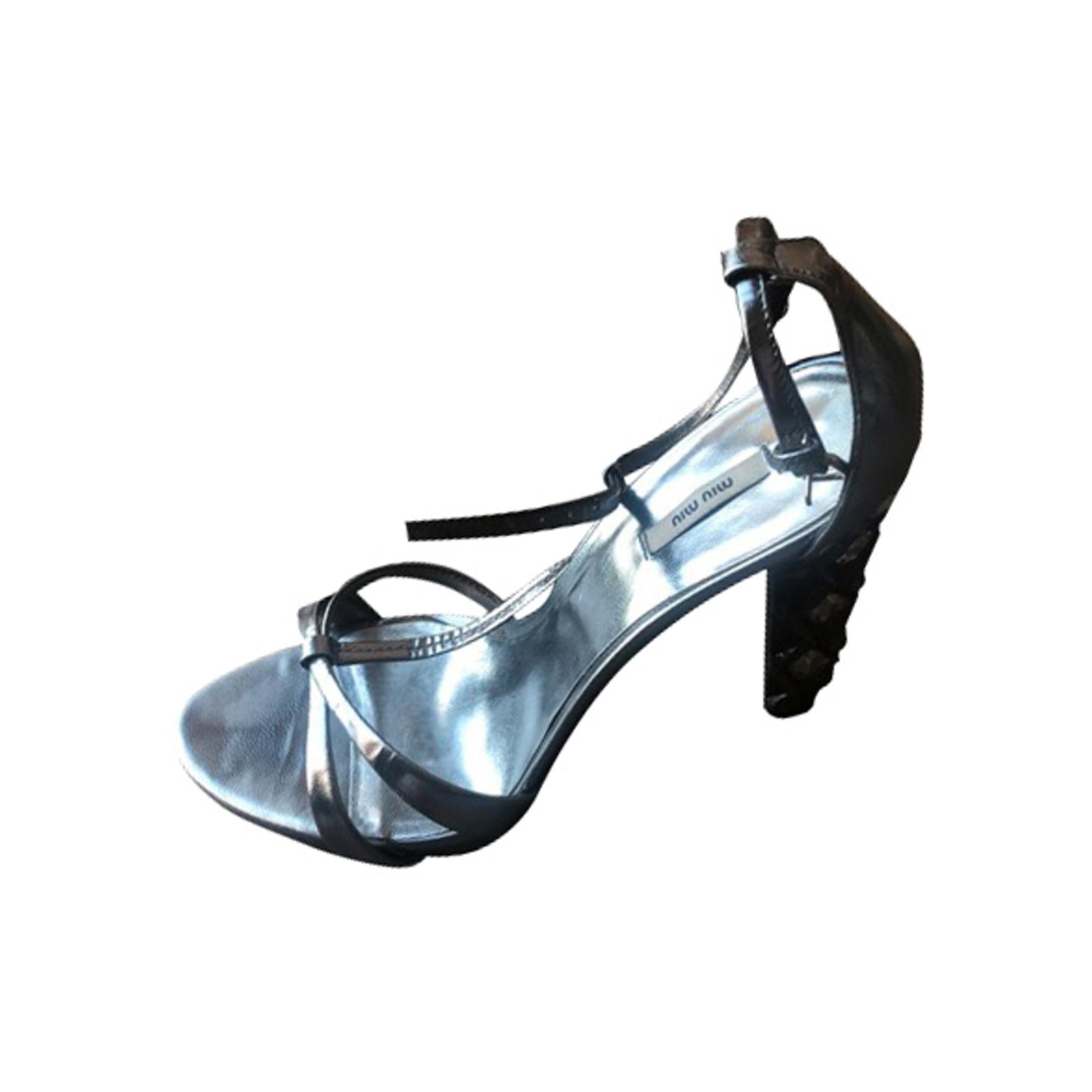 Sandales à talons MIU MIU Argenté, acier