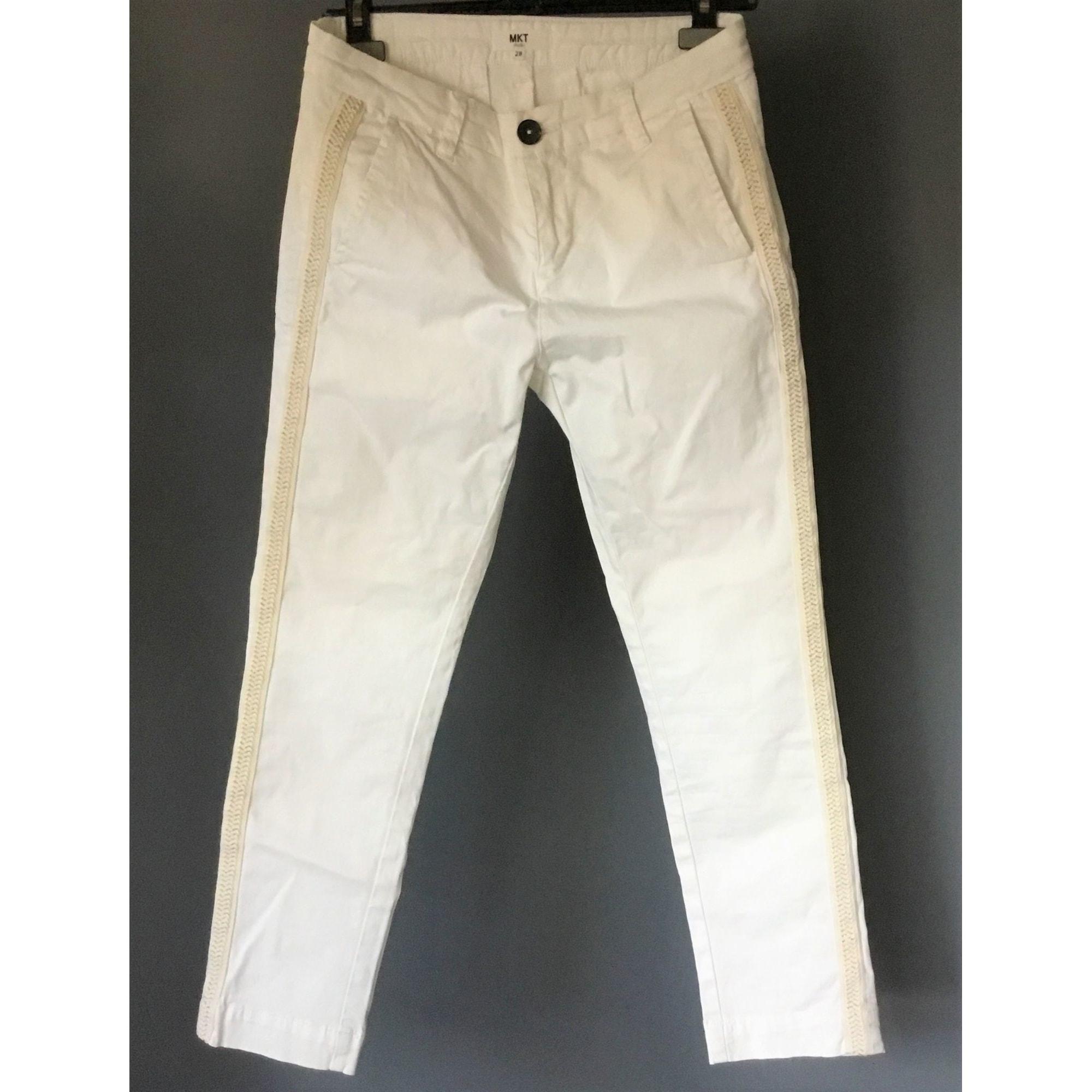 Pantalon slim, cigarette MKT Blanc, blanc cassé, écru