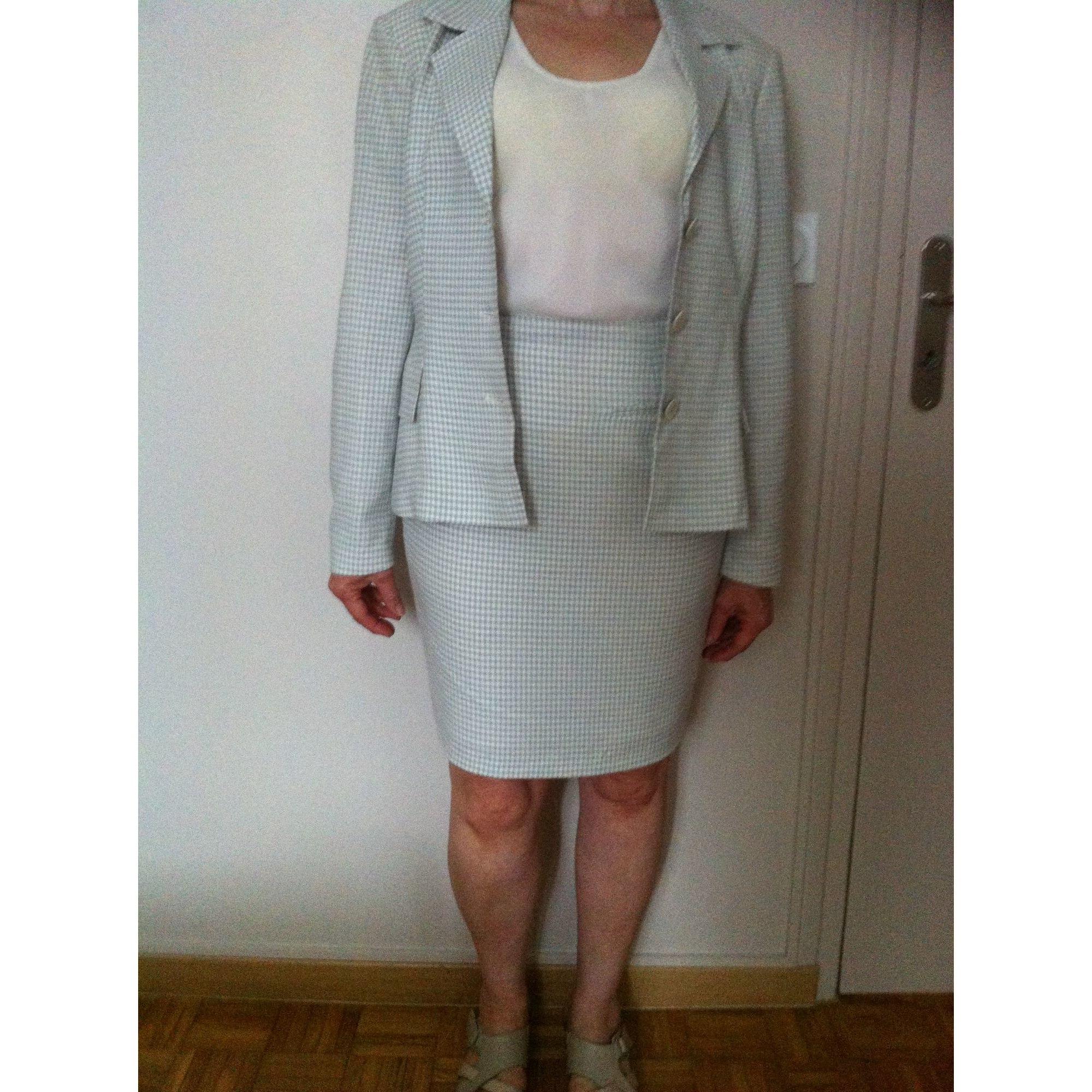 Tailleur jupe DANIEL D Petits carreaux blanc cassé et gris clair