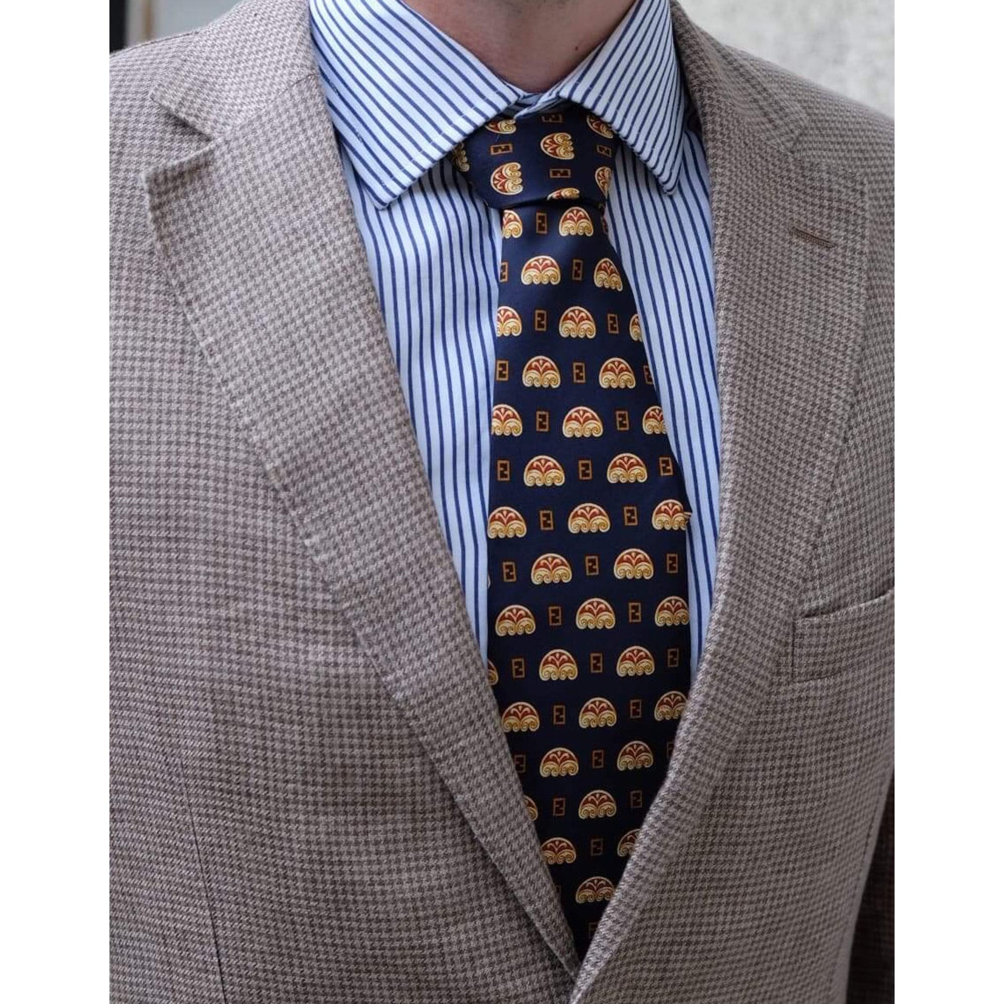 Cravate FENDI Bleu, bleu marine, bleu turquoise